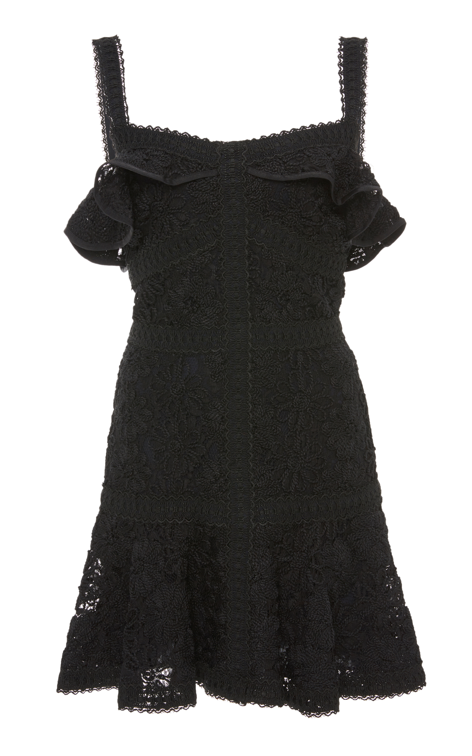 Alexis Linzi Lace Ruffle Mini Dress, Black