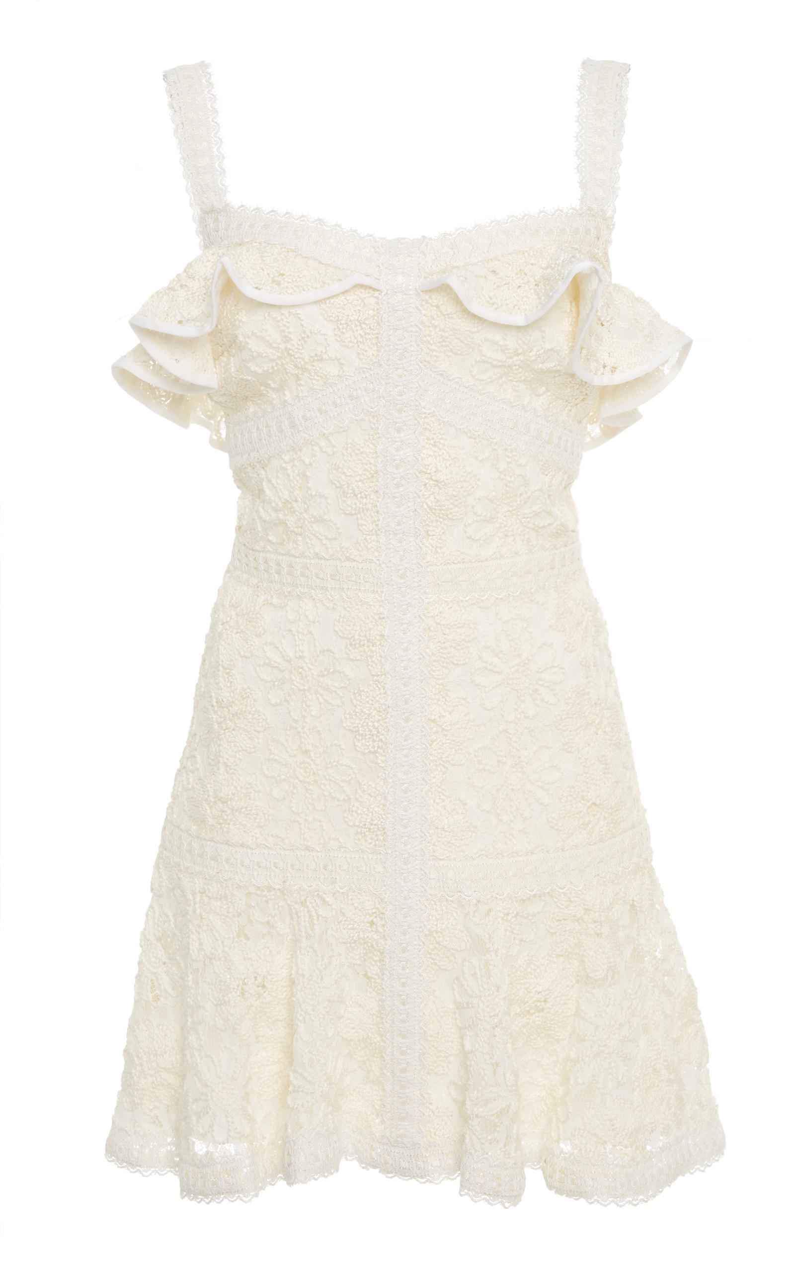 Linzi Ruffled Lace Mini Dress in Ivory Lace