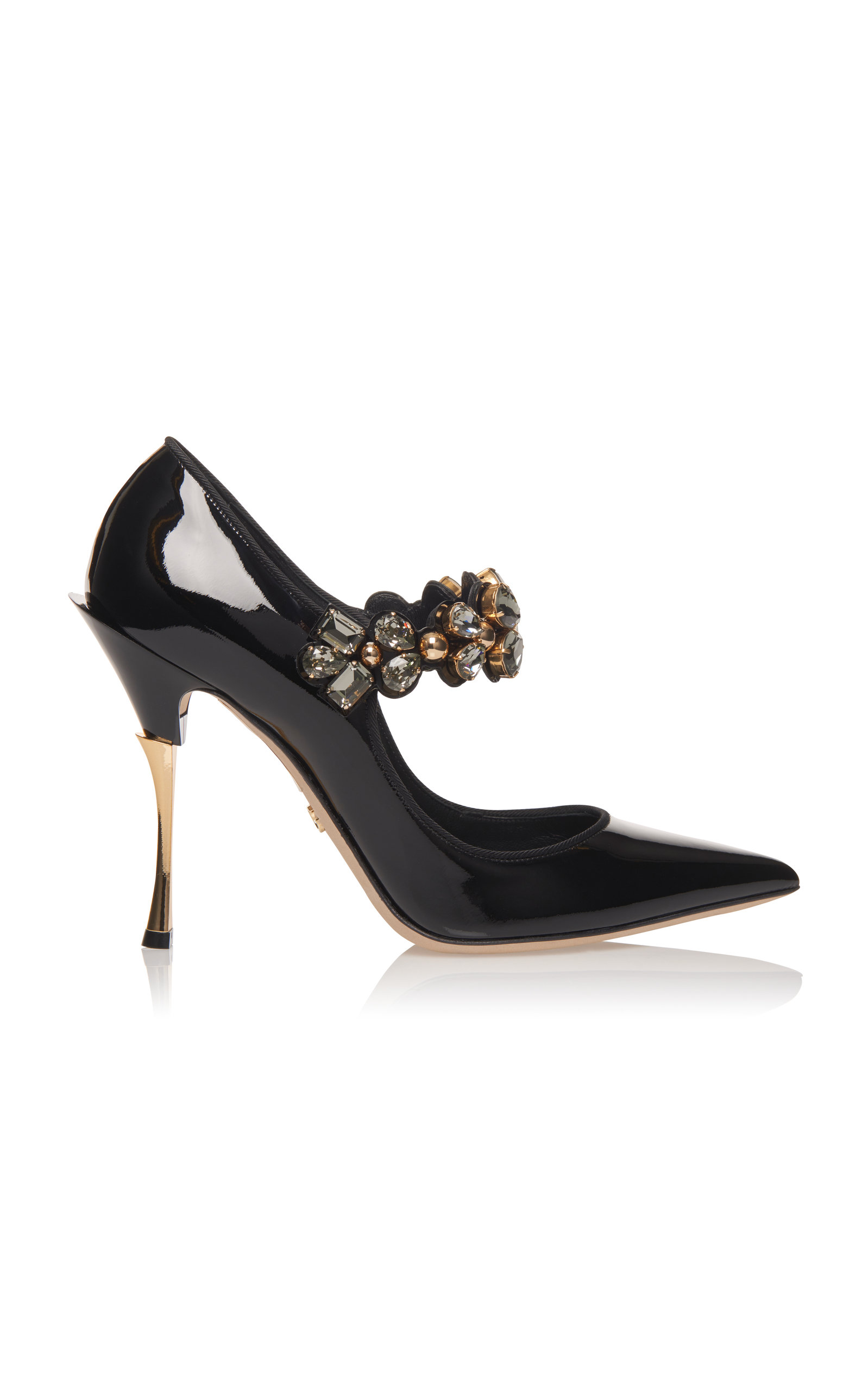 7161776352 Dolce & Gabbana Crystal-Embellished Patent-Leather Mary Jane Pumps In Black