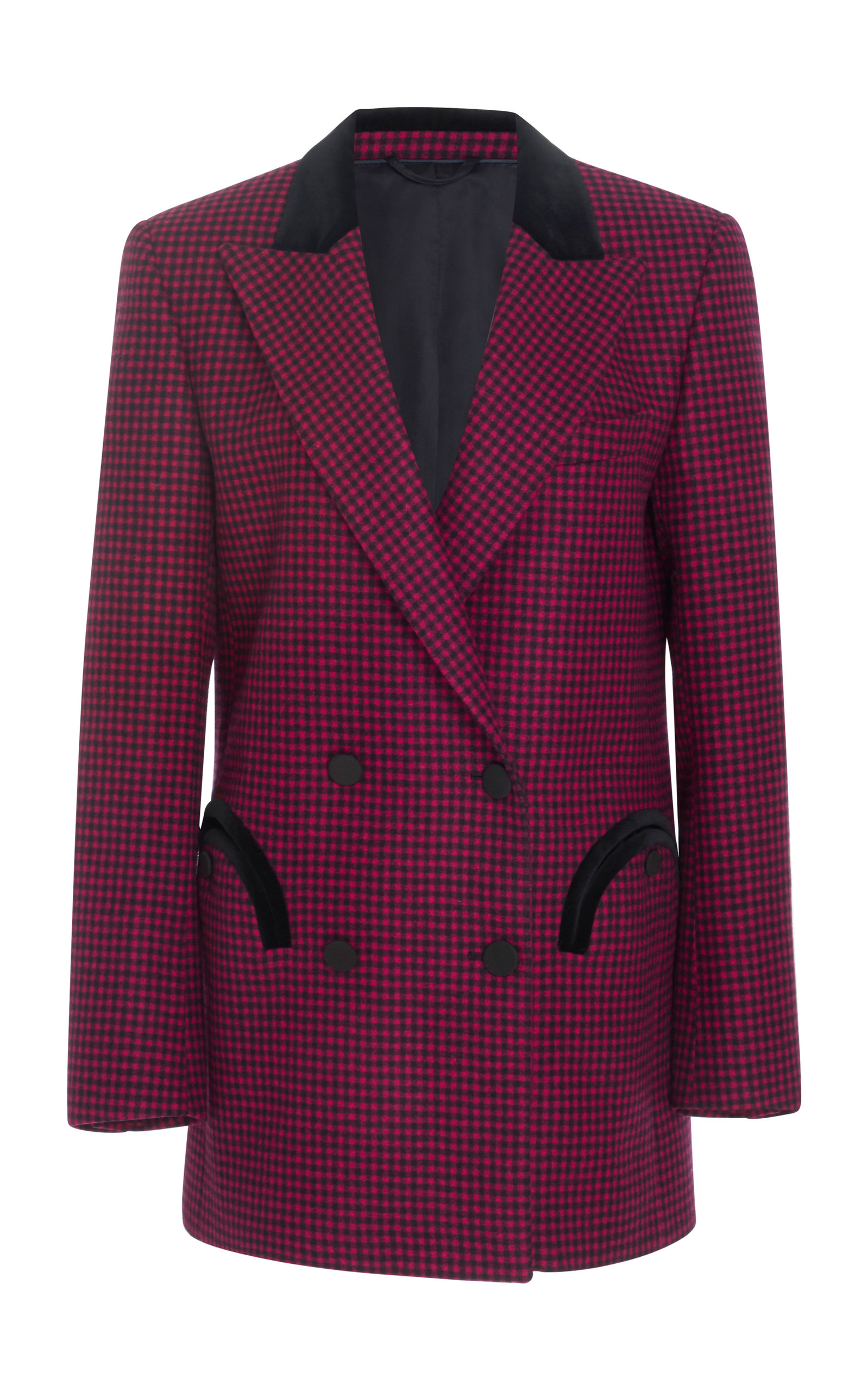 BLAZÉ MILANO Fair And Square Checked Double Breasted Wool Blazer in Dark Pink