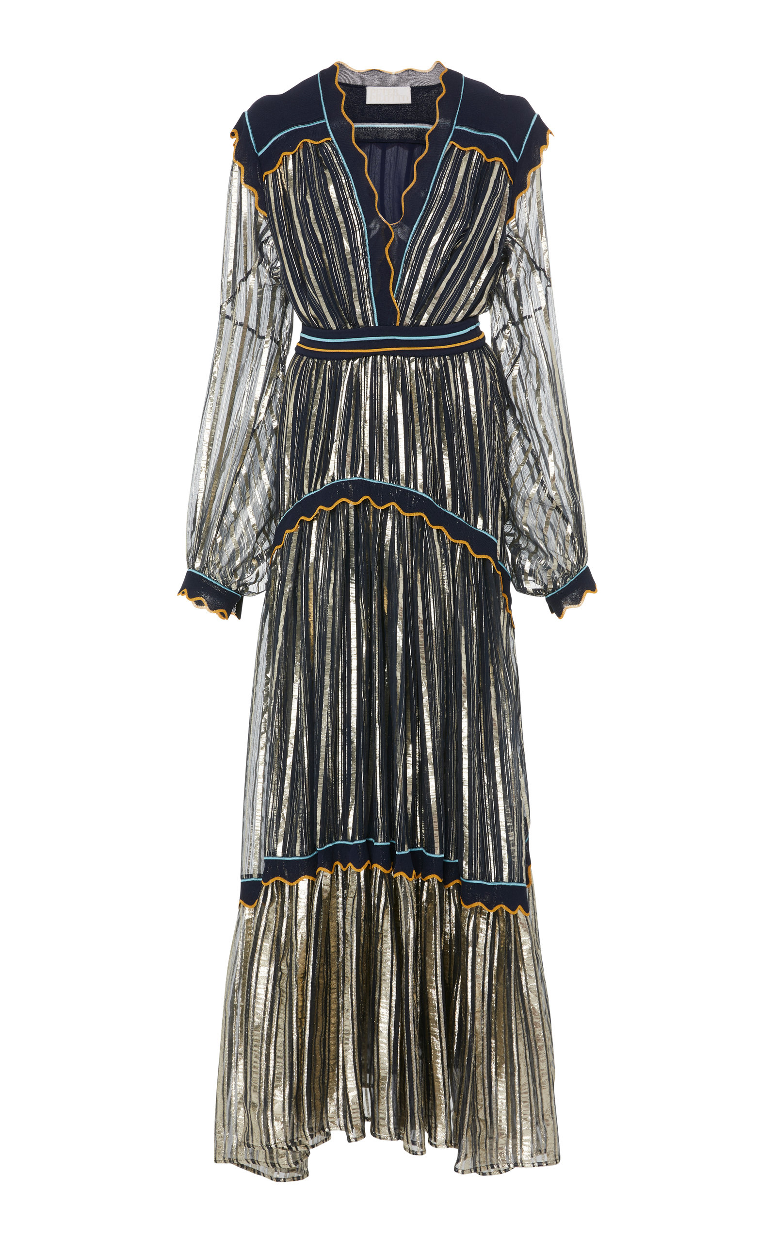 Metallic Tiered Silk-Blend Chiffon Gown
