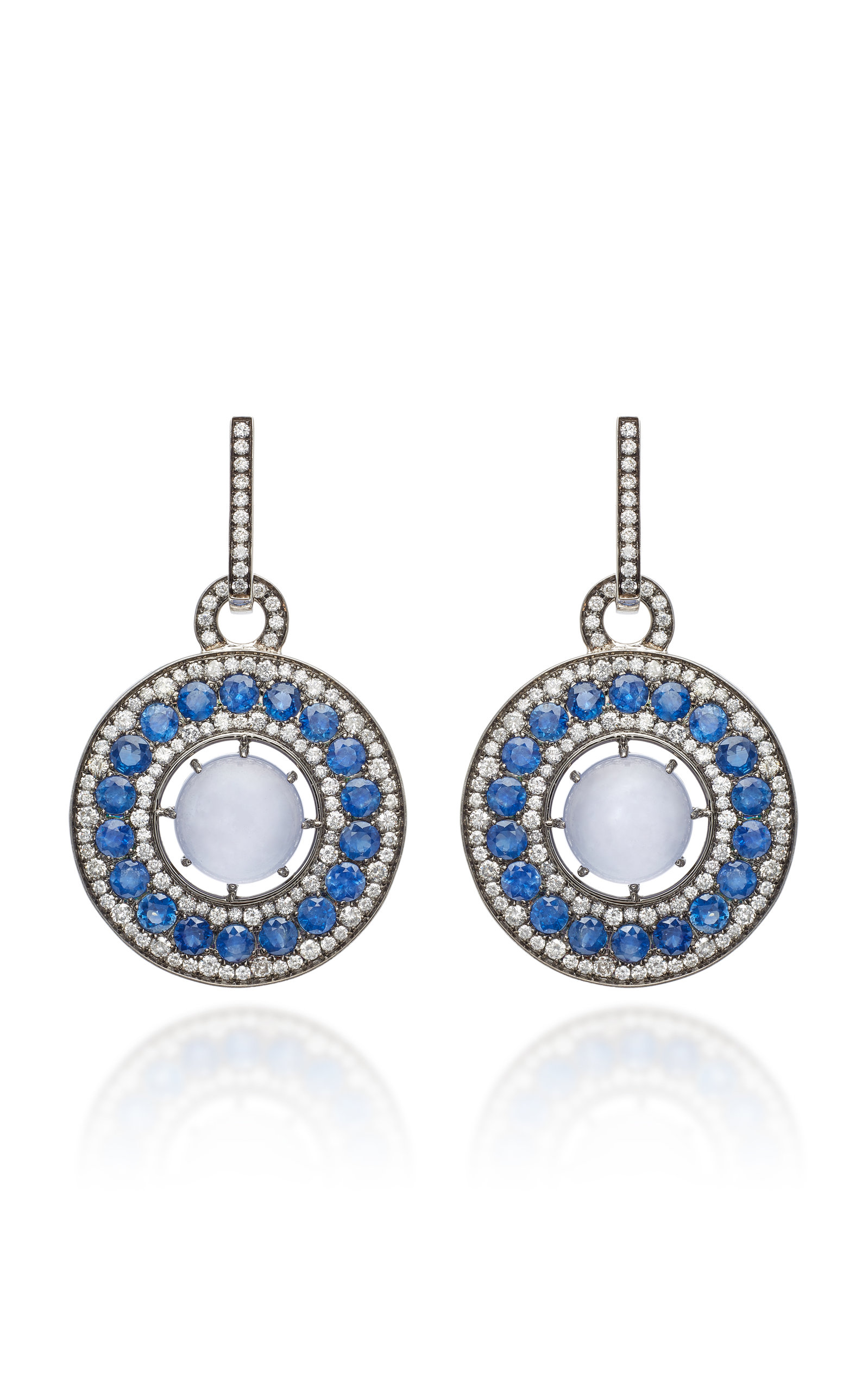 NAM CHO 18K White Gold Black Rhodium Chalcedony Blue Sapphire And Diamond Earrings
