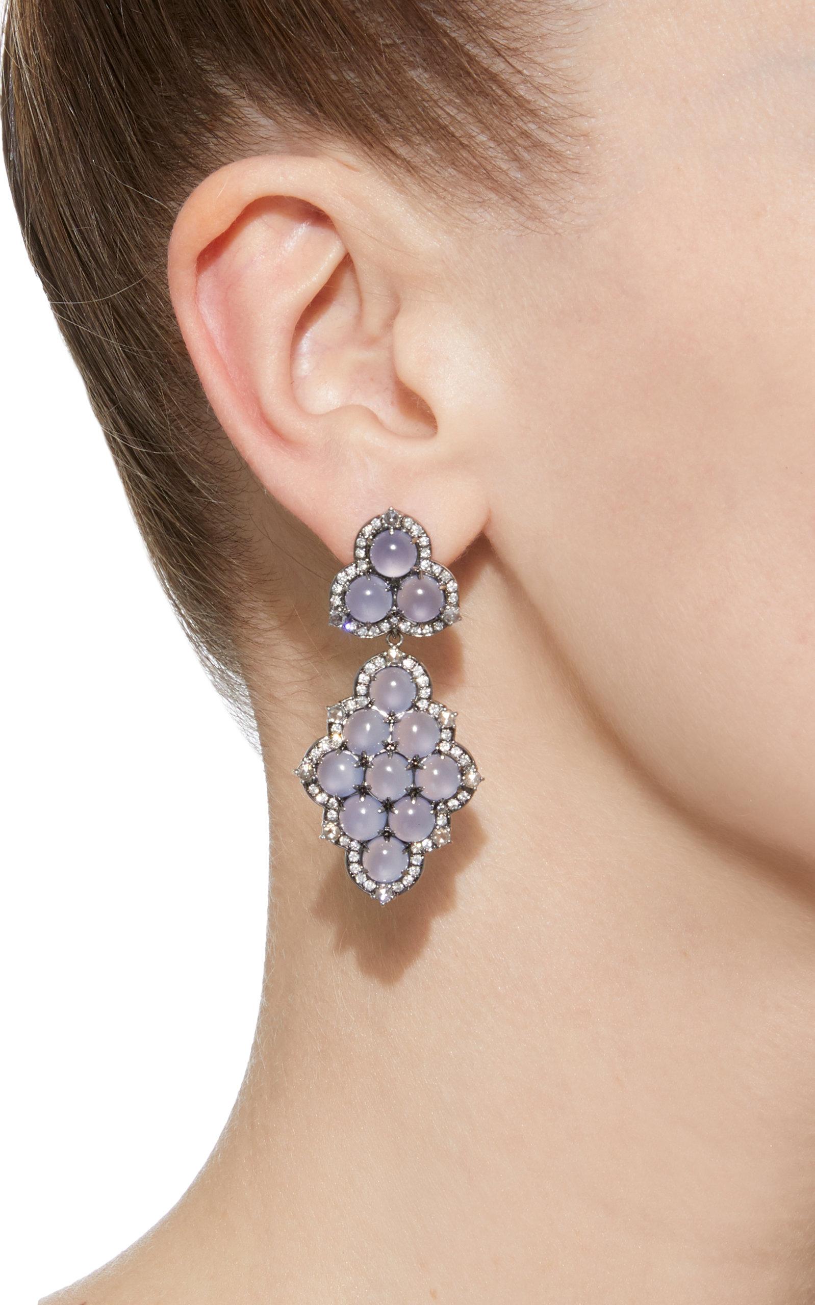 Detachable 18K White Gold Black Rhodium Chalcedony and Diamond Earrings Nam Cho urt1VQN