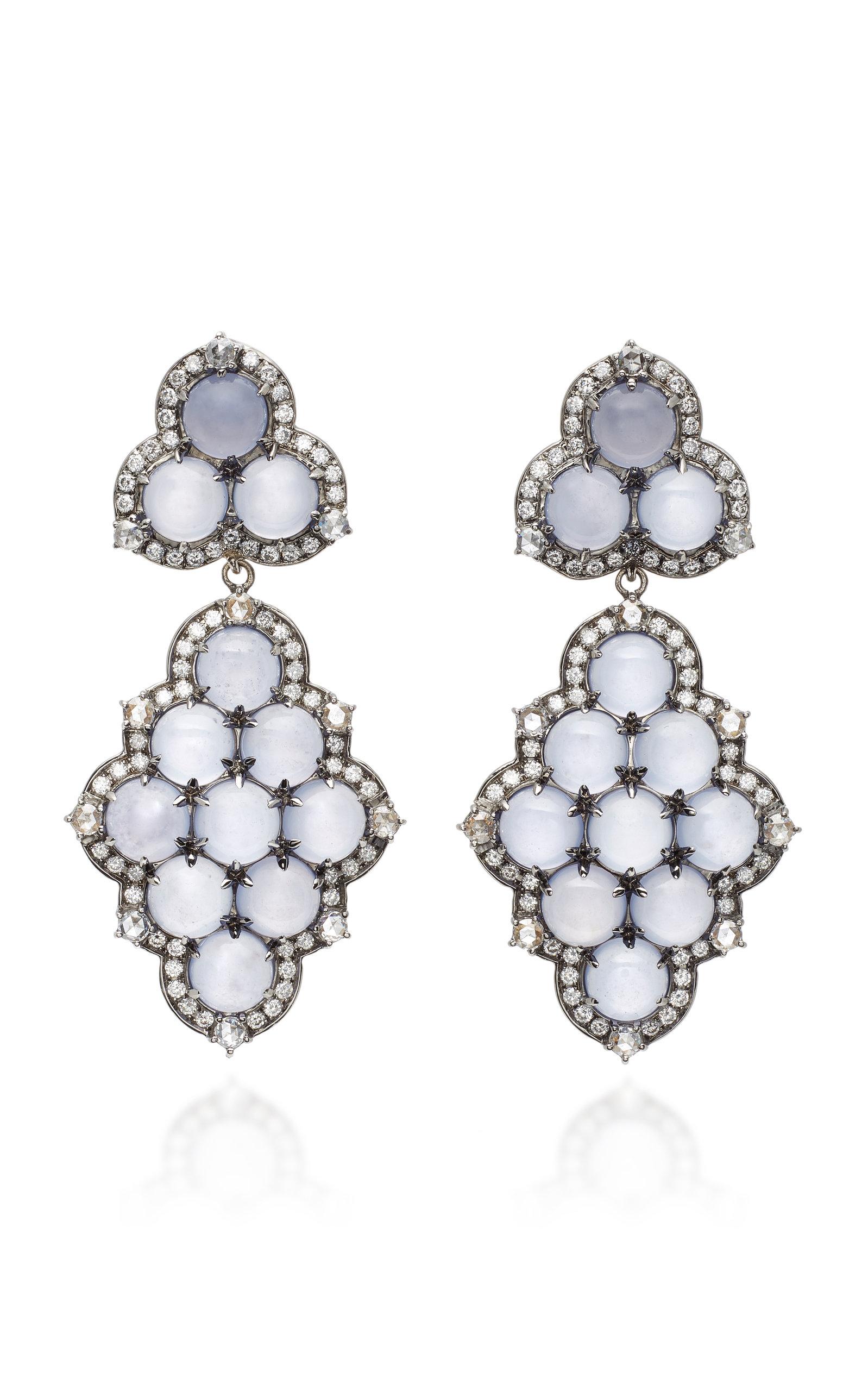 Detachable 18K White Gold Black Rhodium Chalcedony and Diamond Earrings Nam Cho nWZ437n