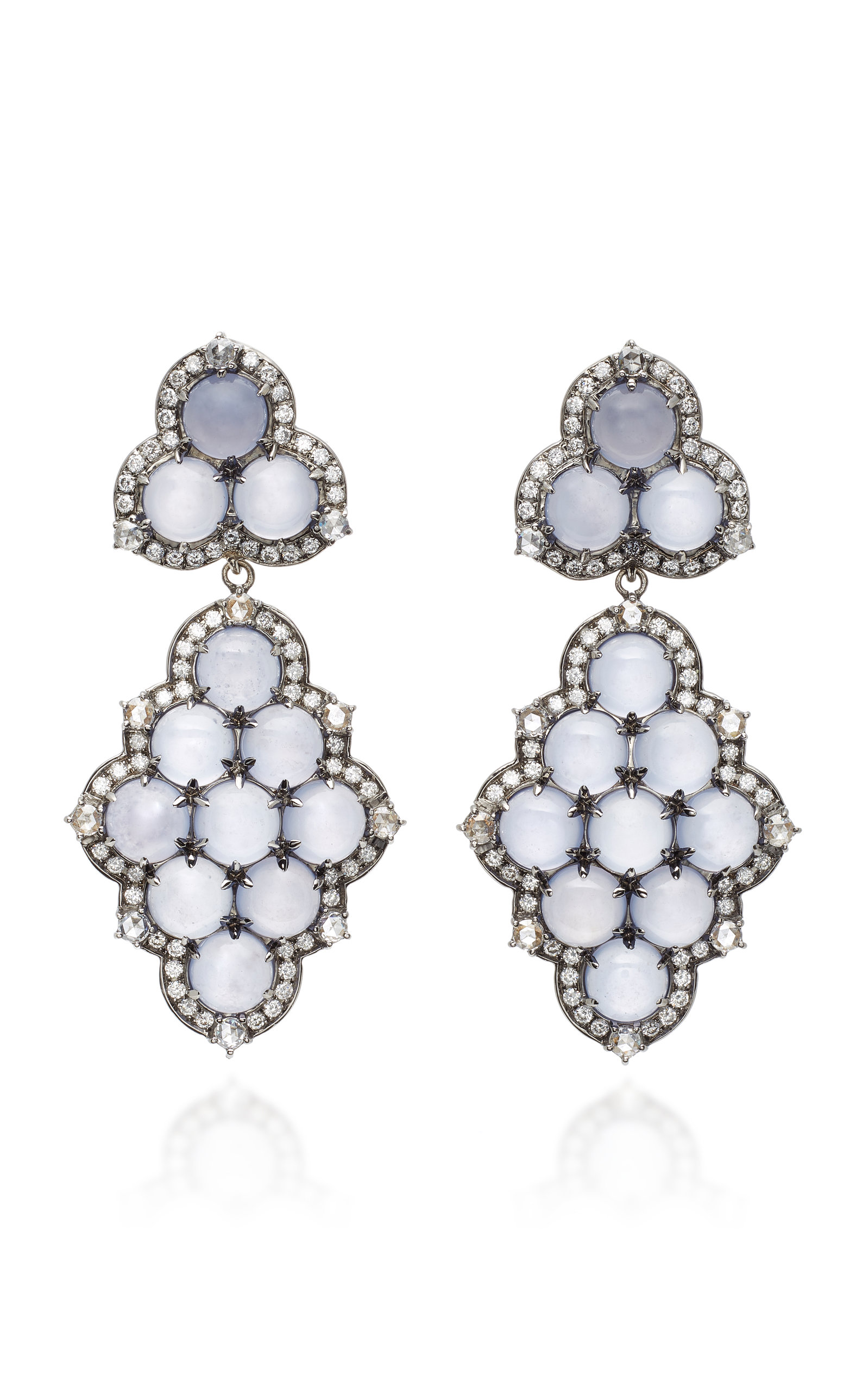 NAM CHO Detachable 18K White Gold Black Rhodium Chalcedony And Diamond Earrings in Blue