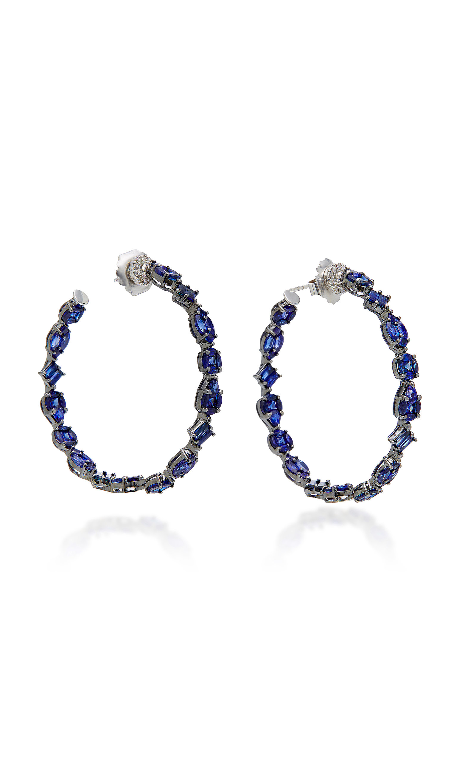 NAM CHO 18K WHITE GOLD RHODIUM-PLATED SAPPHIRE AND DIAMOND HOOP EARRINGS