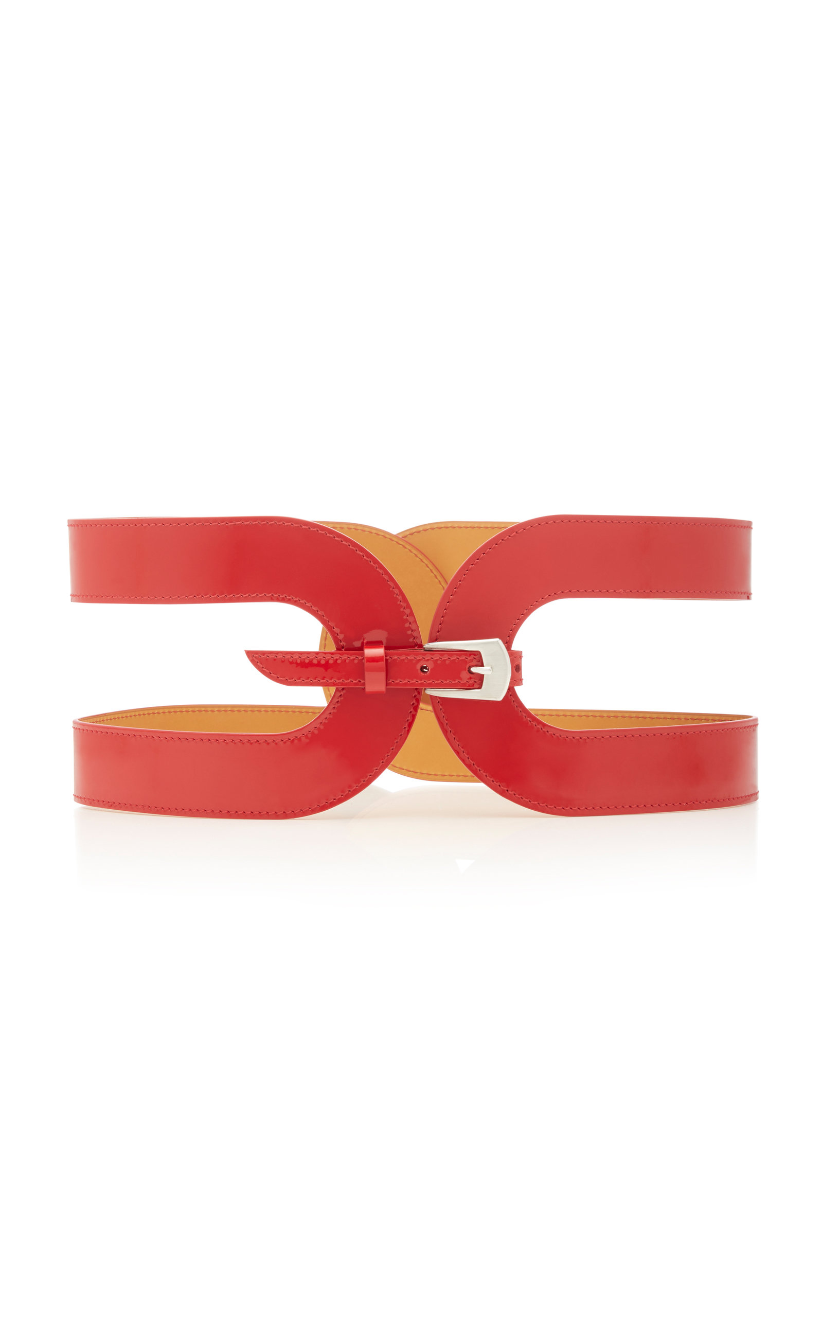 MAISON VAINCOURT Cage Leather Belt in Red