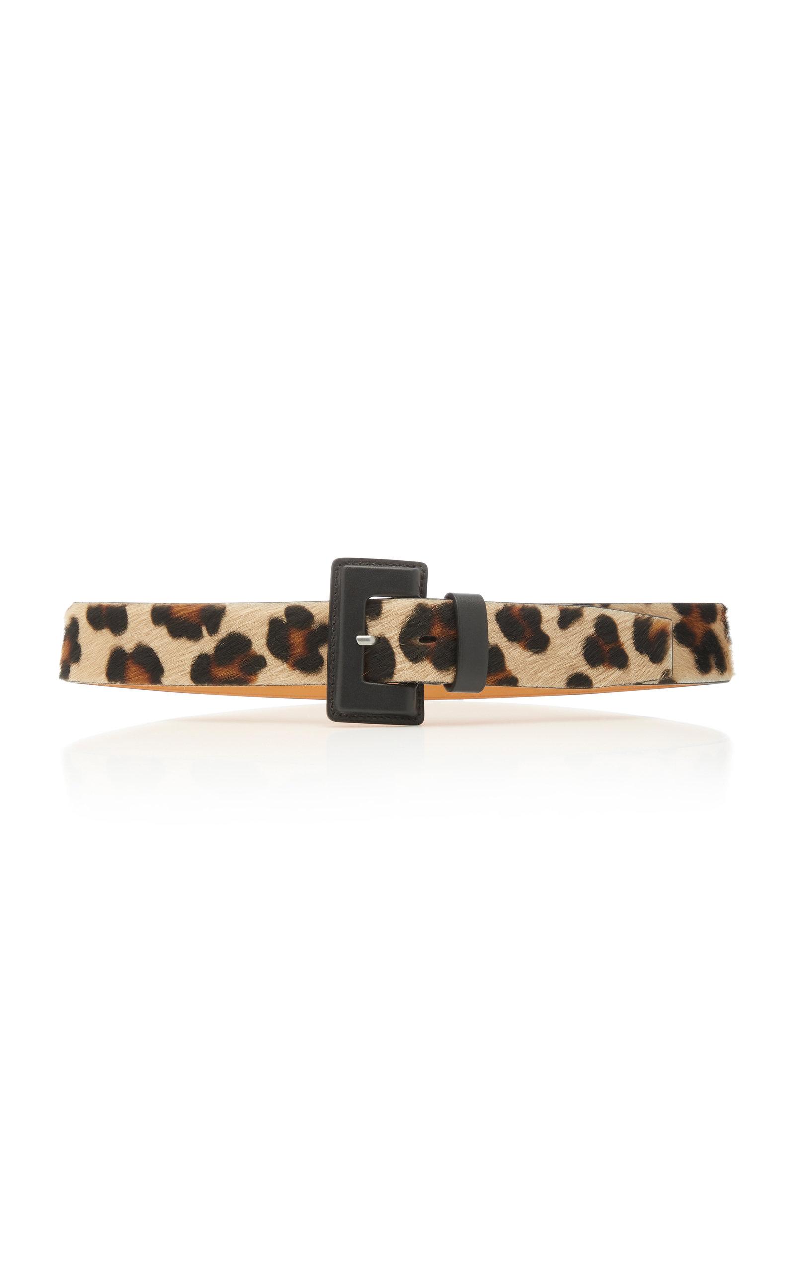 Leopard-Print Calf-Hair Belt in Animal