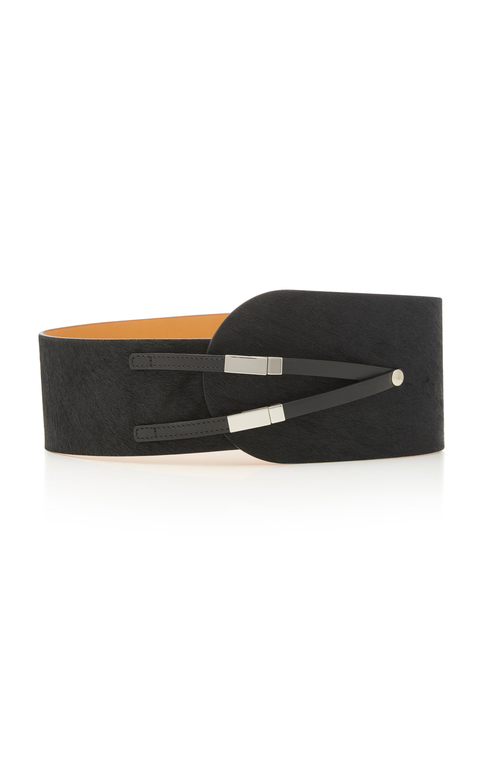 MAISON VAINCOURT Leather-Trimmed Calf-Hair Belt in Black