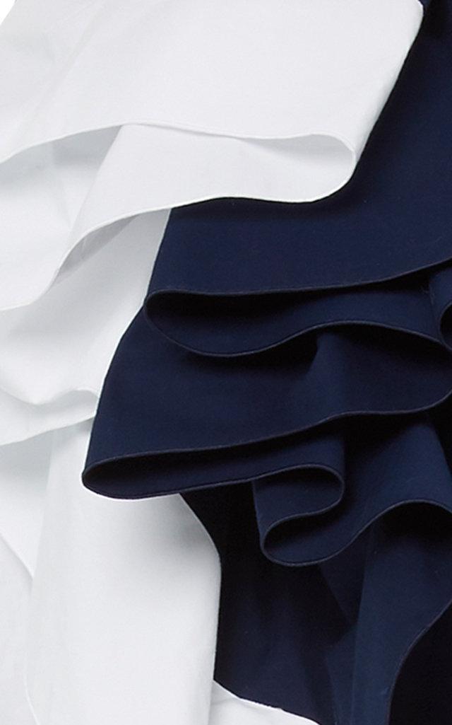 Cotton Bicolor Dress with Belt Delpozo BWODH