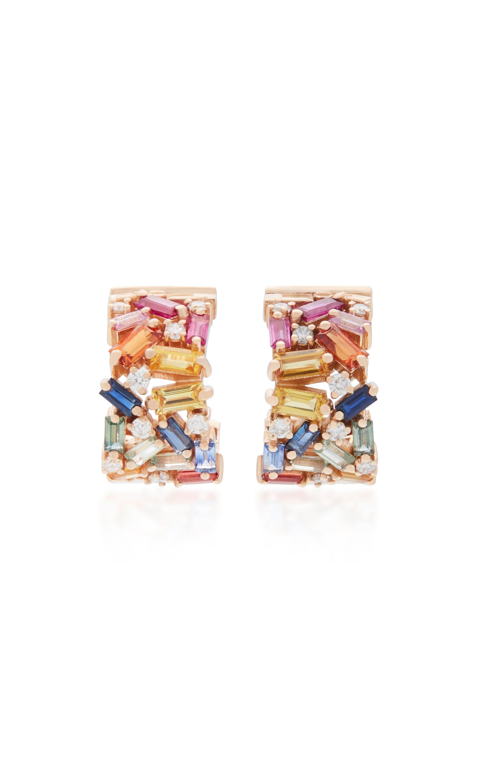 RAINBOW FIREWORK 18K ROSE GOLD DIAMOND AND SAPPHIRE EARRINGS