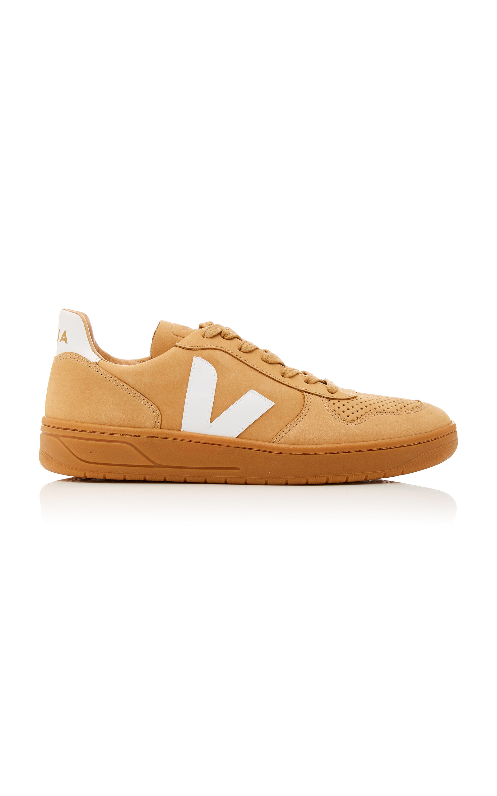 VEJA BASTILLE TWO-TONE LEATHER-TRIMMED NUBUCK SNEAKERS