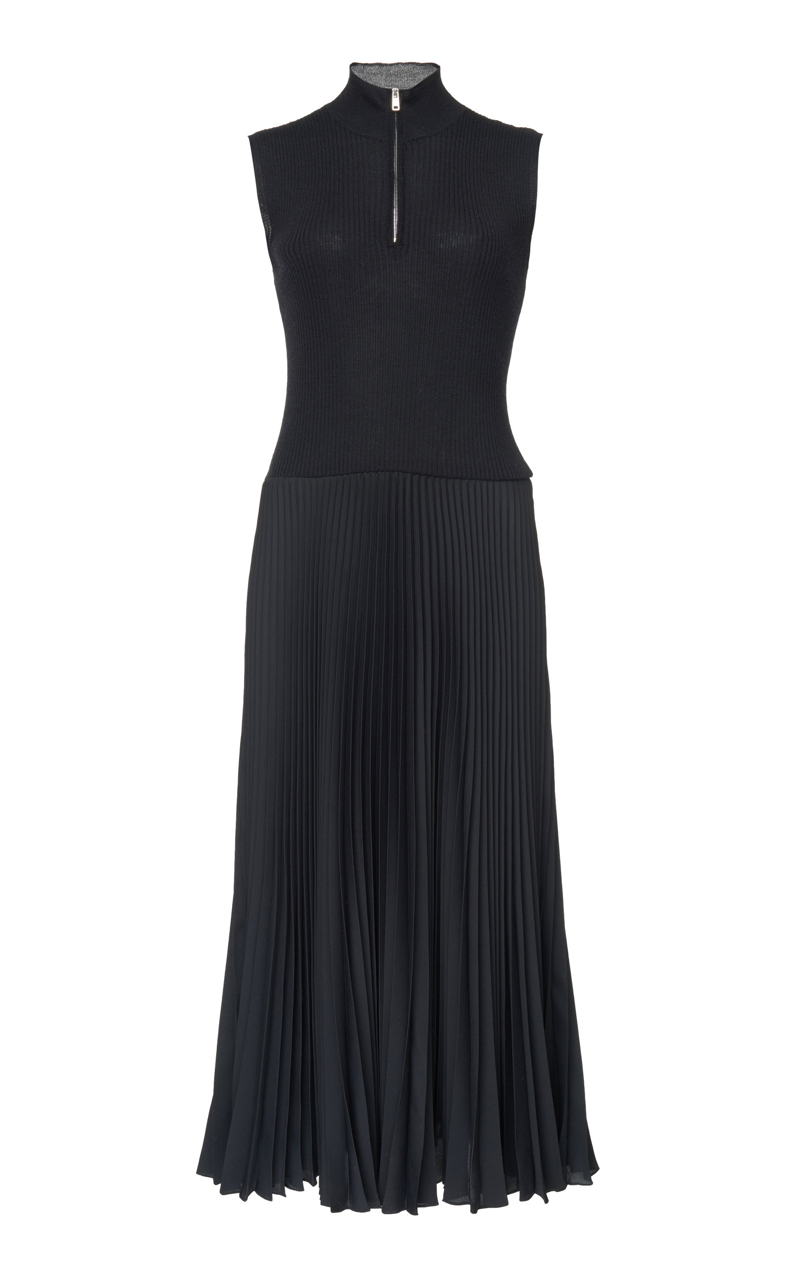 Zip High-Neck Sleeveless Pleated Skirt Midi Dress in Black