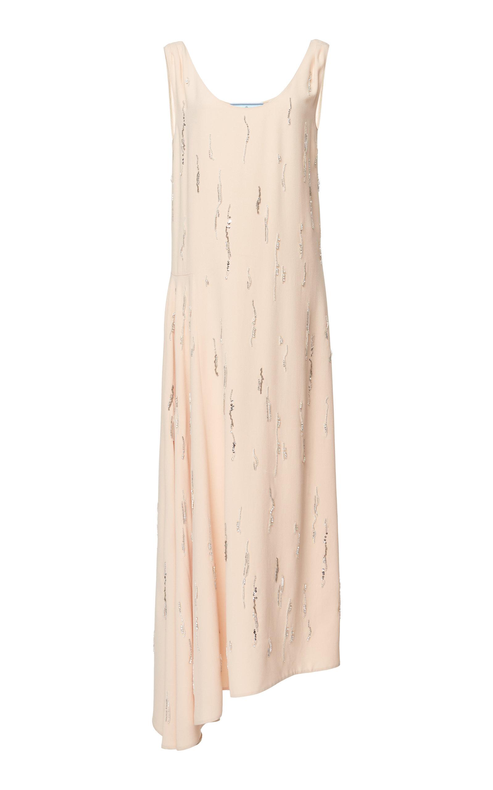 Asymmetric Embellished Georgette Dress Prada Il8KzbUP
