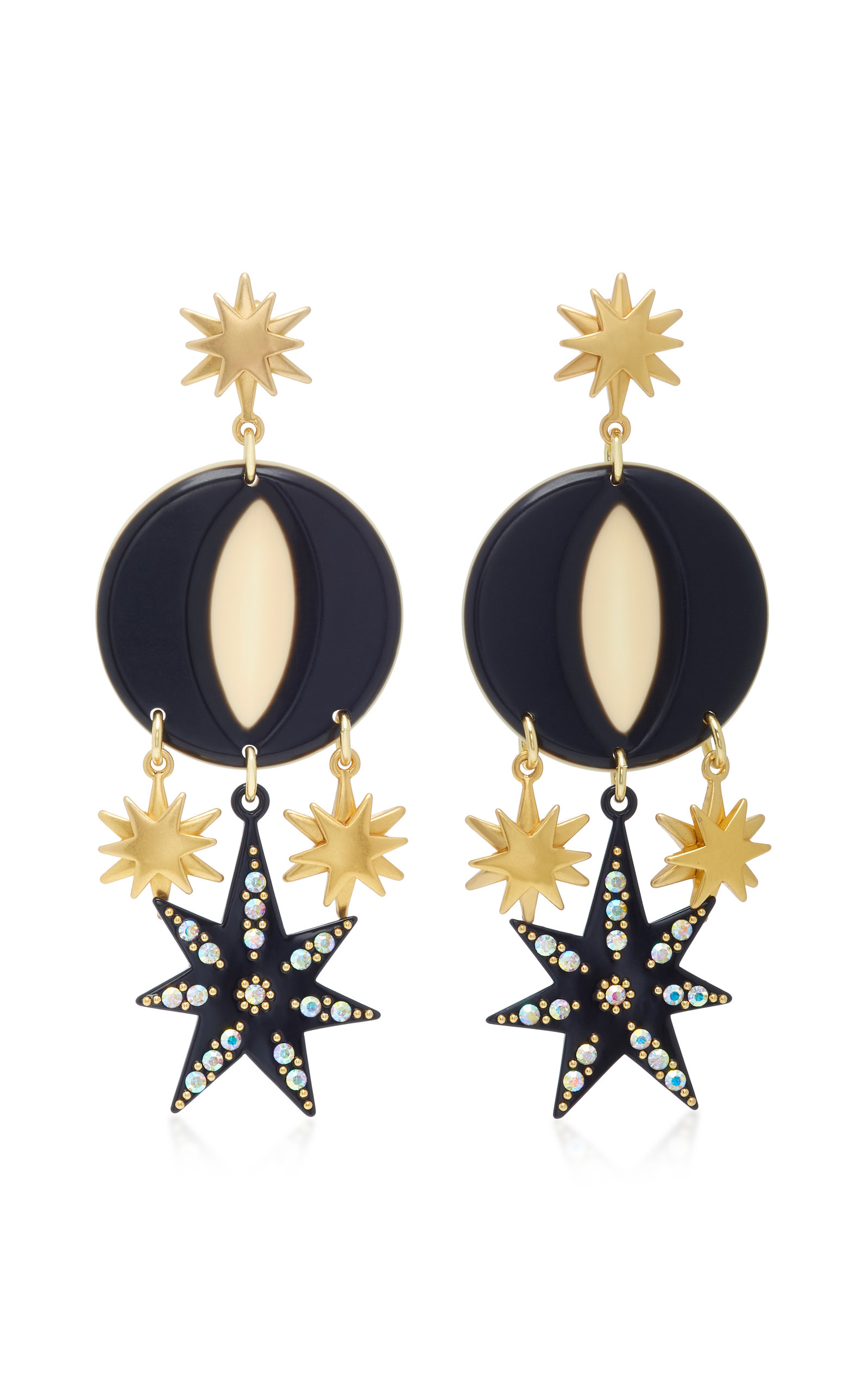 Orana Gold-Plated Enamel and Crystal Earrings Lulu Frost