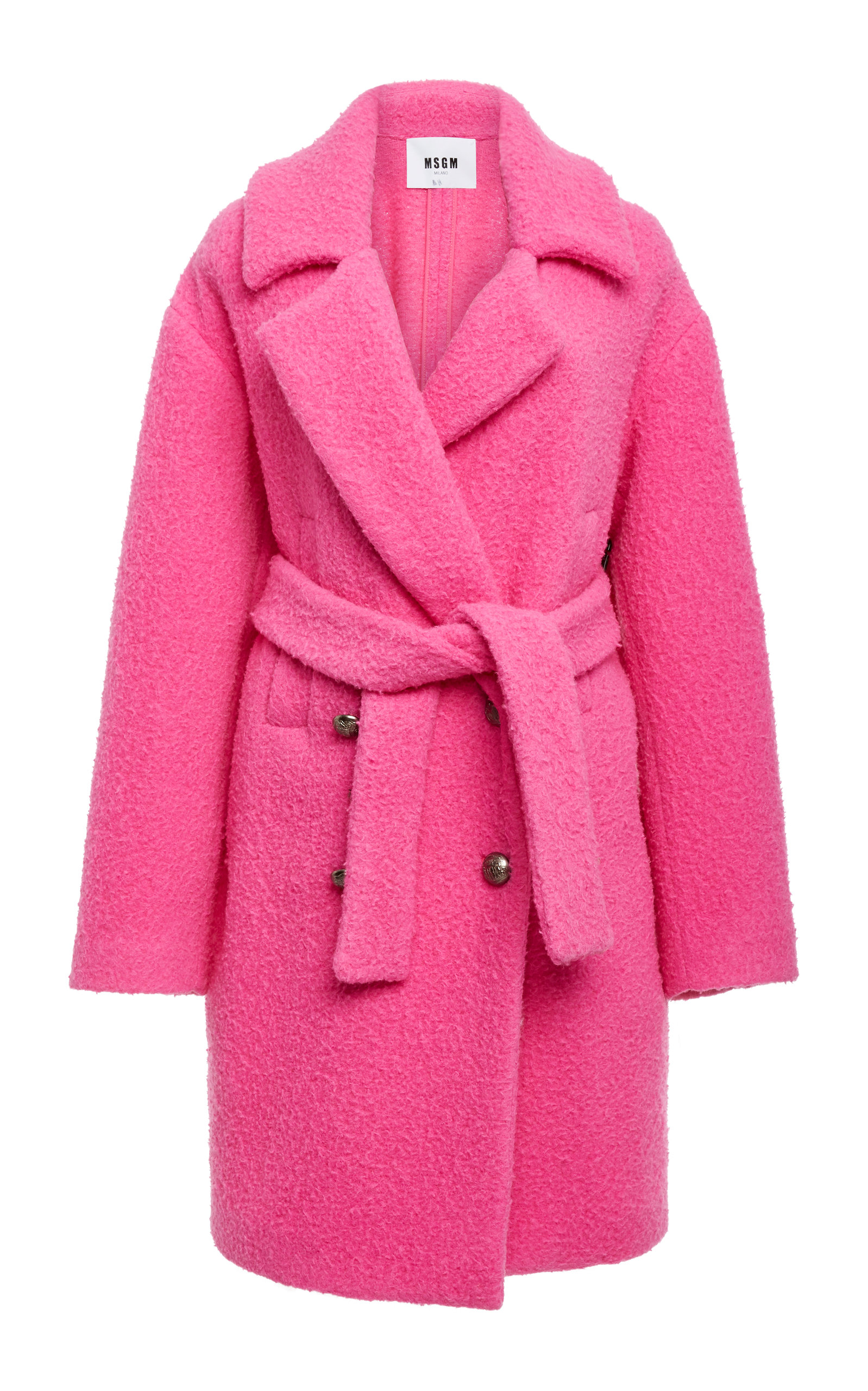 Oversized Double-Breasted Wool-Blend Coat in Pink