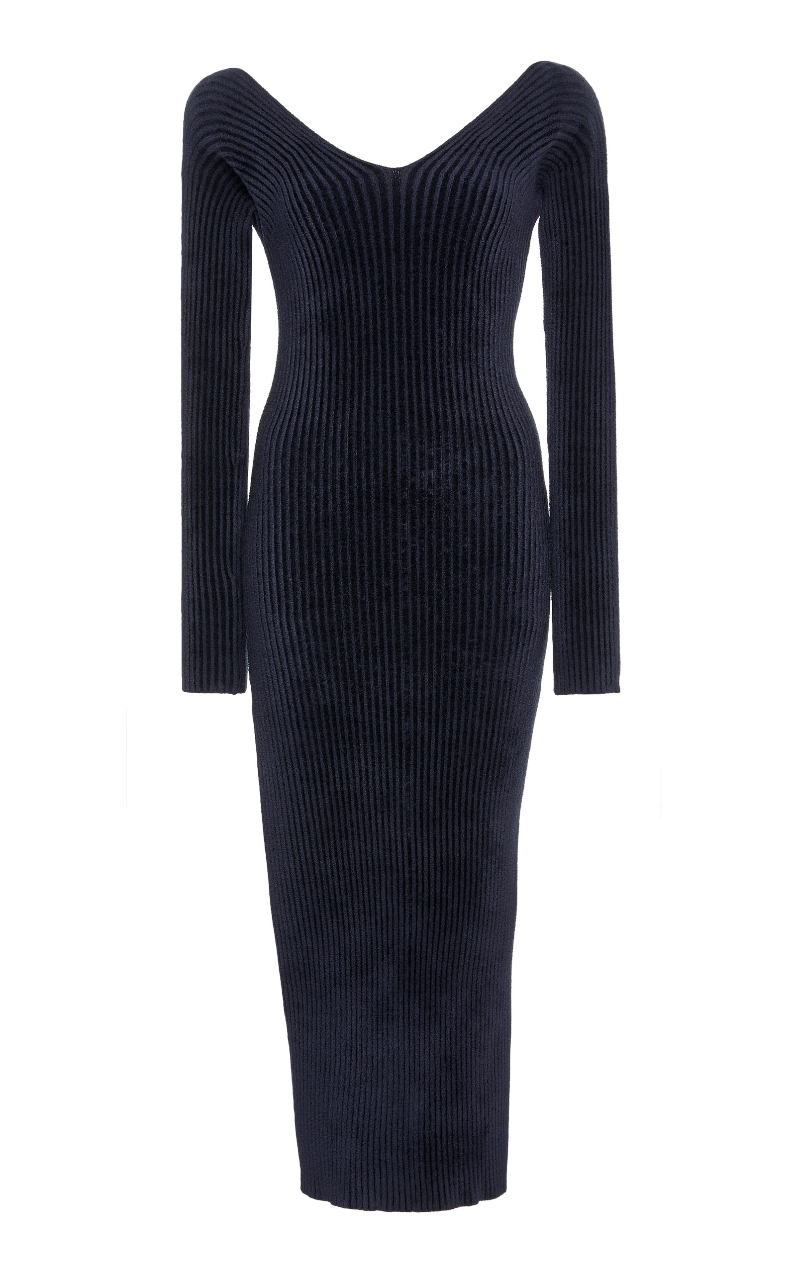 MRZ OFF-THE-SHOULDER RIBBED-KNIT MIDI DRESS