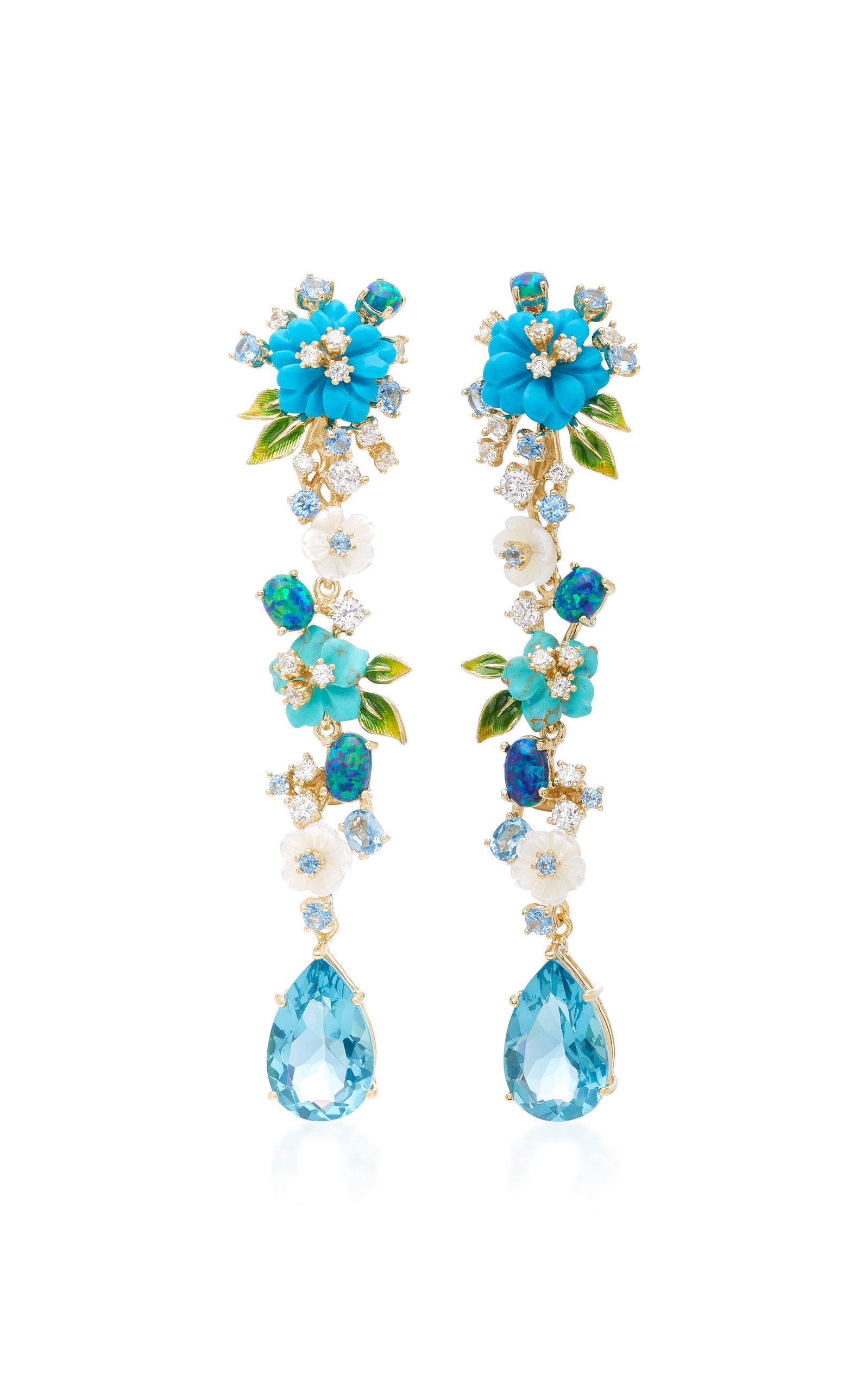 Blue Topaz Convertible Pearl Tassel Earrings Anabela Chan KBD00O3K