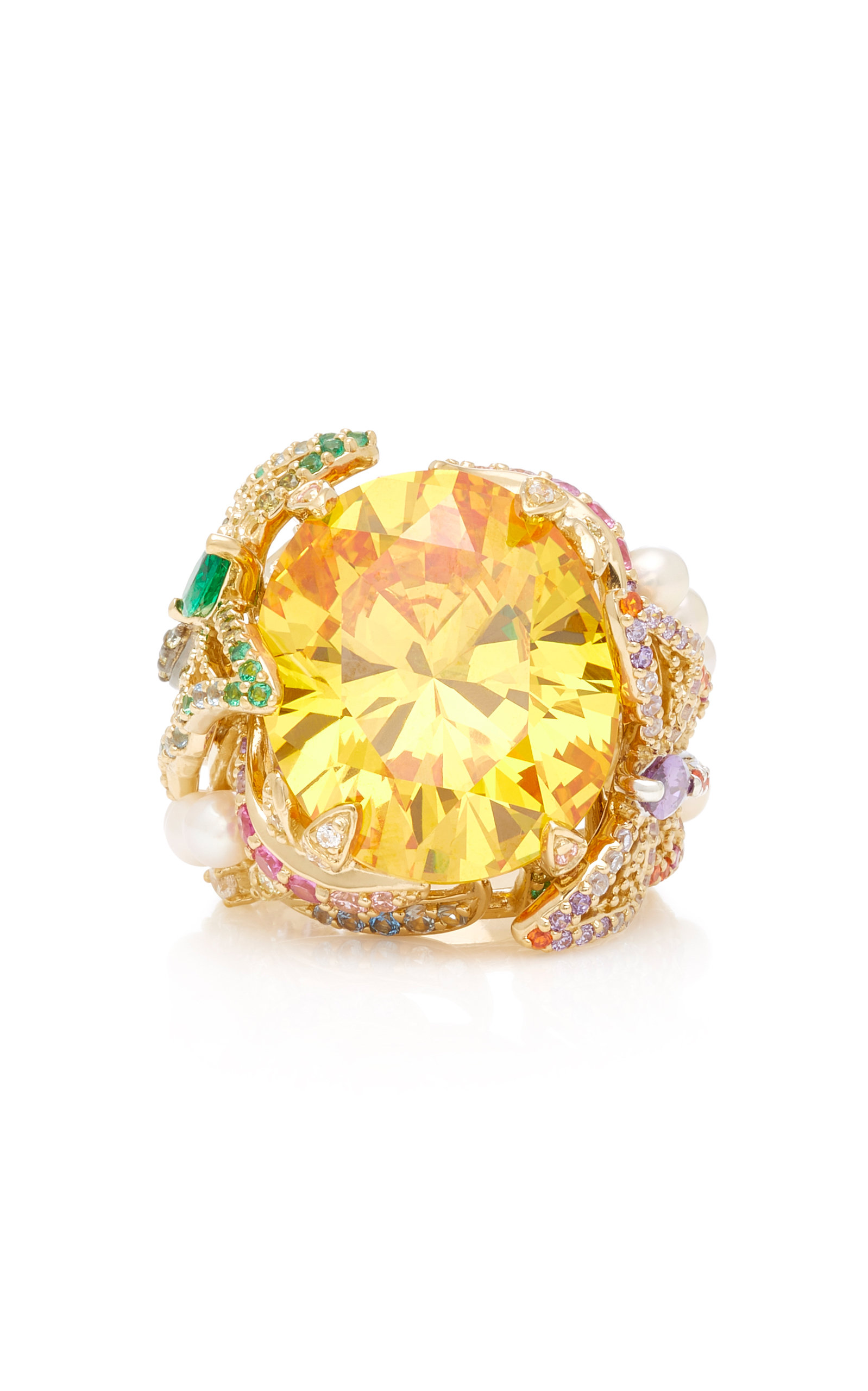 ANABELA CHAN Citrine Swallowtail Ring in Yellow