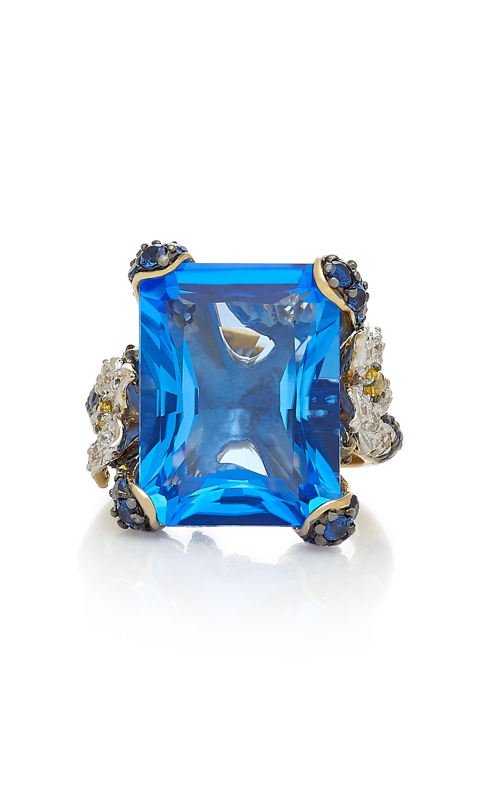 ANABELA CHAN Cinderella 18K Gold Sapphire And Diamond Ring in Blue