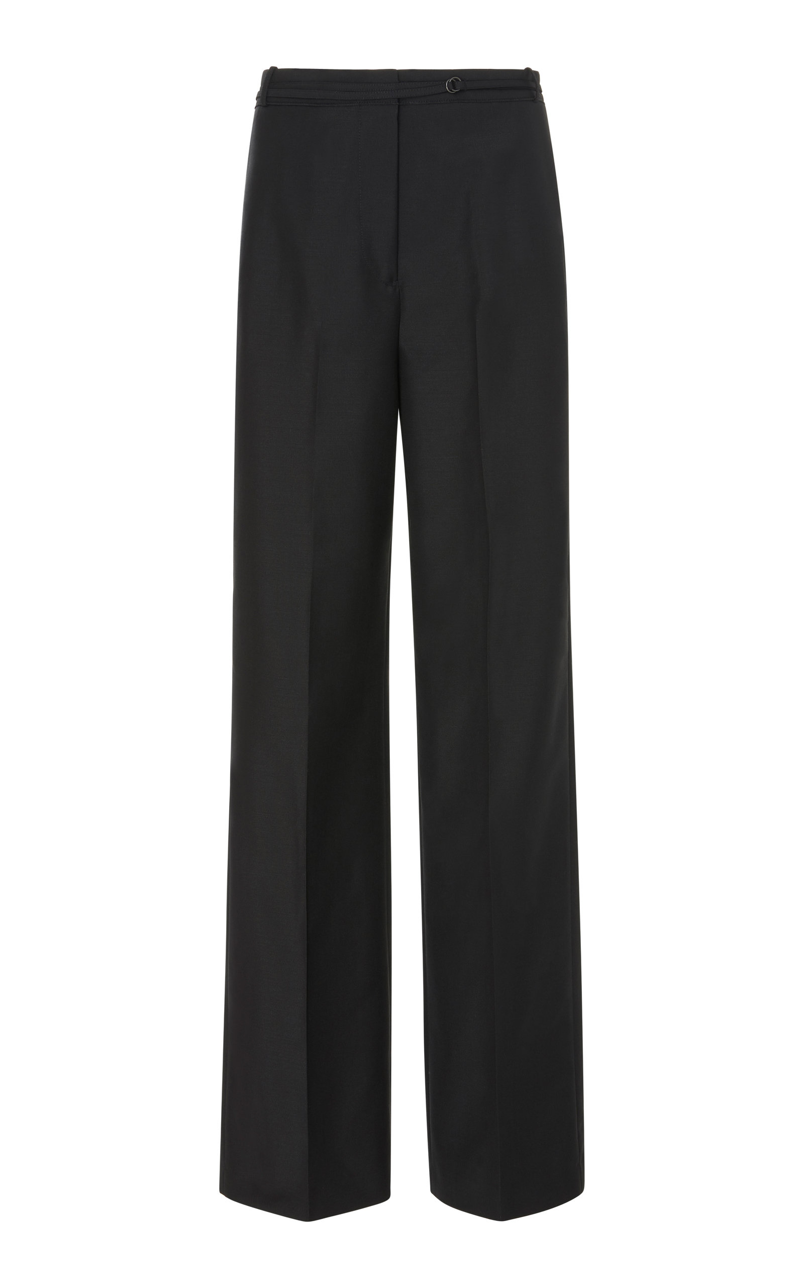 6e74087fac8 Jil Sander Flat-Front Straight-Leg Wool-Mohair Pants With Thin Belt In ...