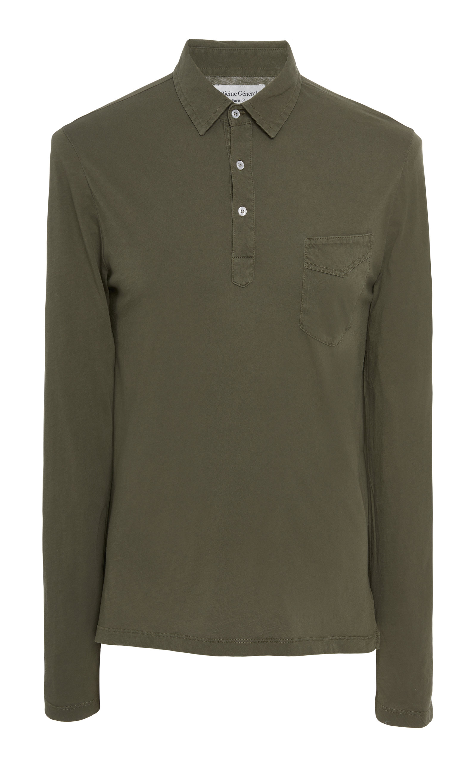 OFFICINE GENERALE Three-Button Long Sleeve Cotton Polo in Green