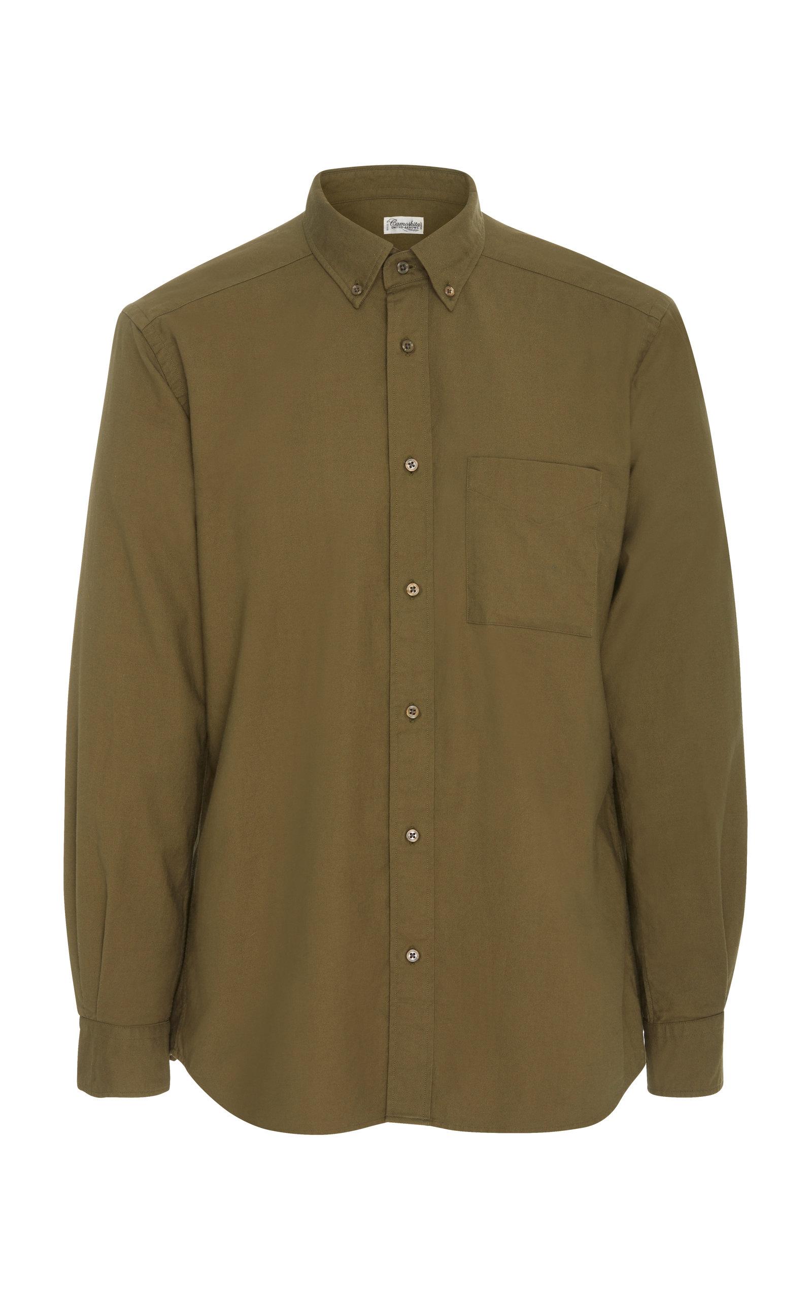 CAMOSHITA Button-Down Oxford Dress Shirt in Green