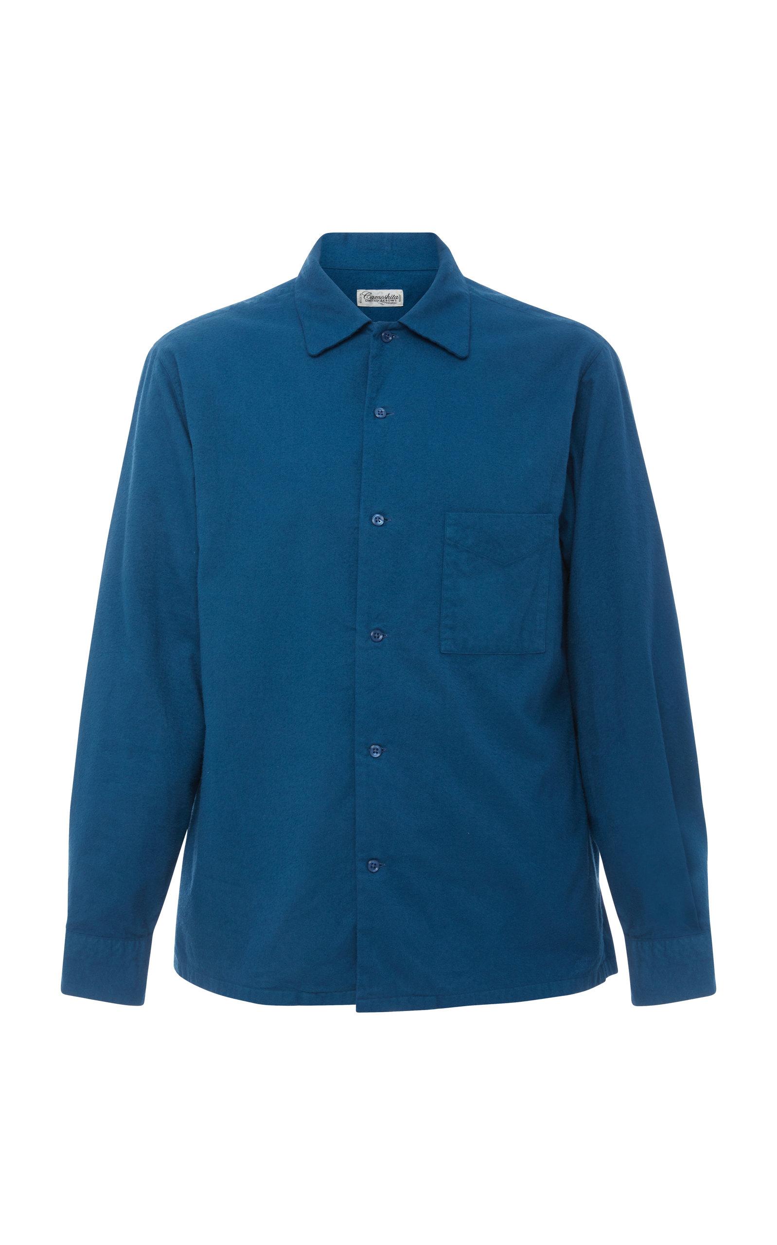 CAMOSHITA Open Collar Button Shirt in Blue