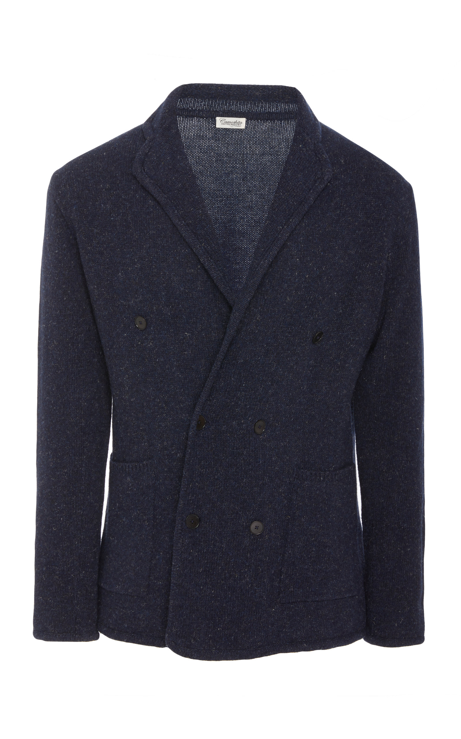 CAMOSHITA Double-Breasted Wool-Blend Bouclé Jacket in Navy