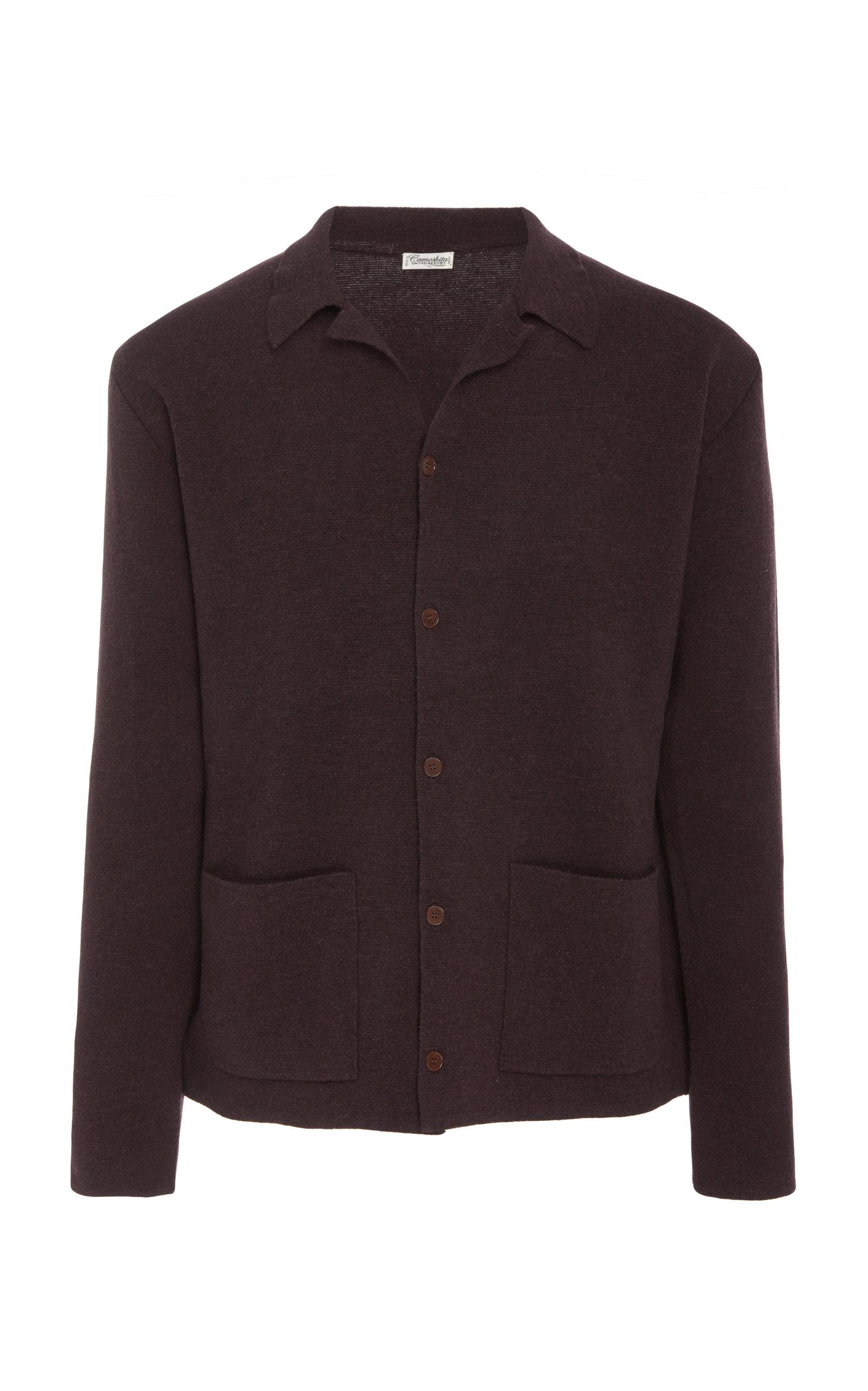 CAMOSHITA Knit Polo Cardigan Sweater in Burgundy