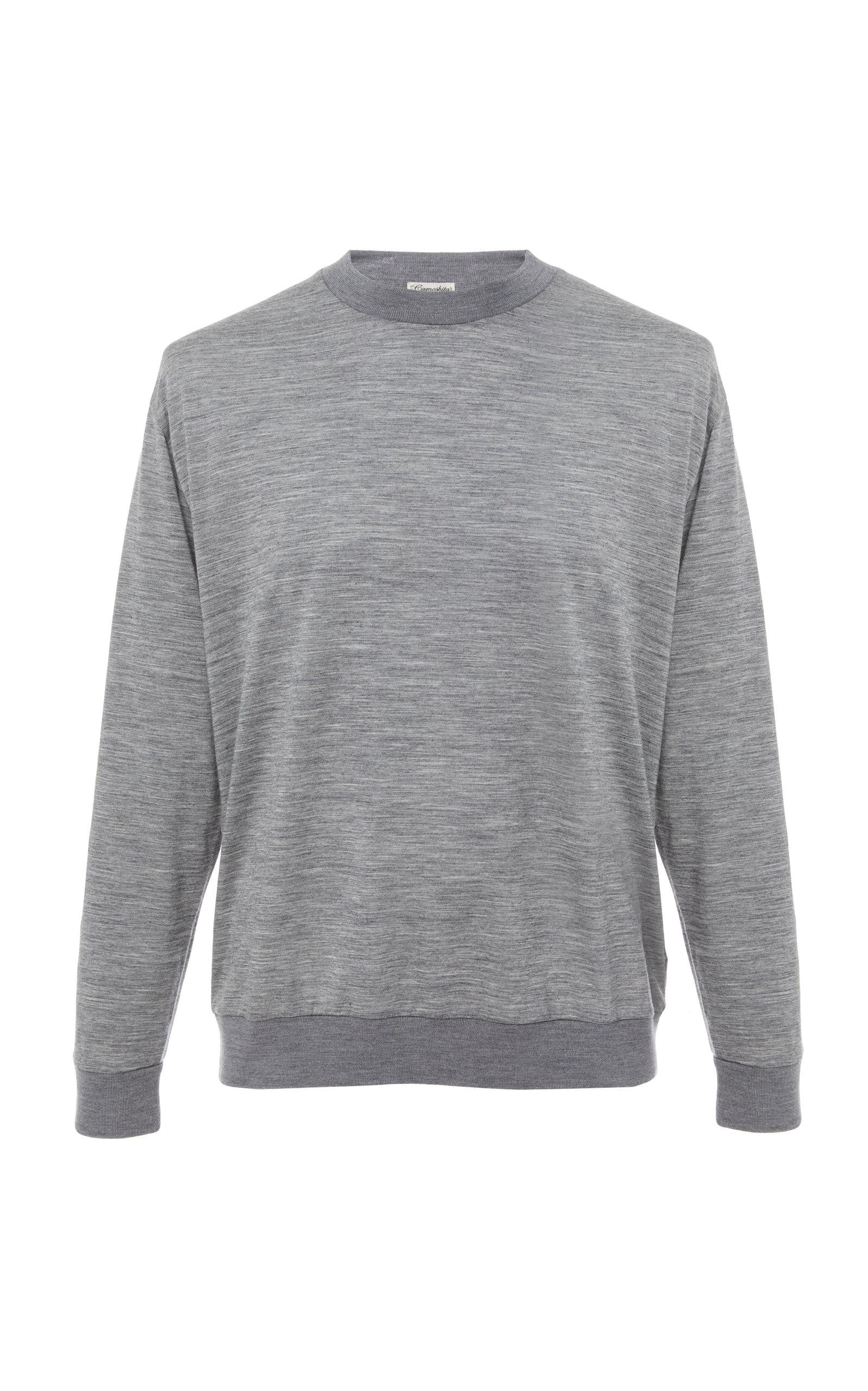 CAMOSHITA Long Sleeve Wool Shirt in Grey