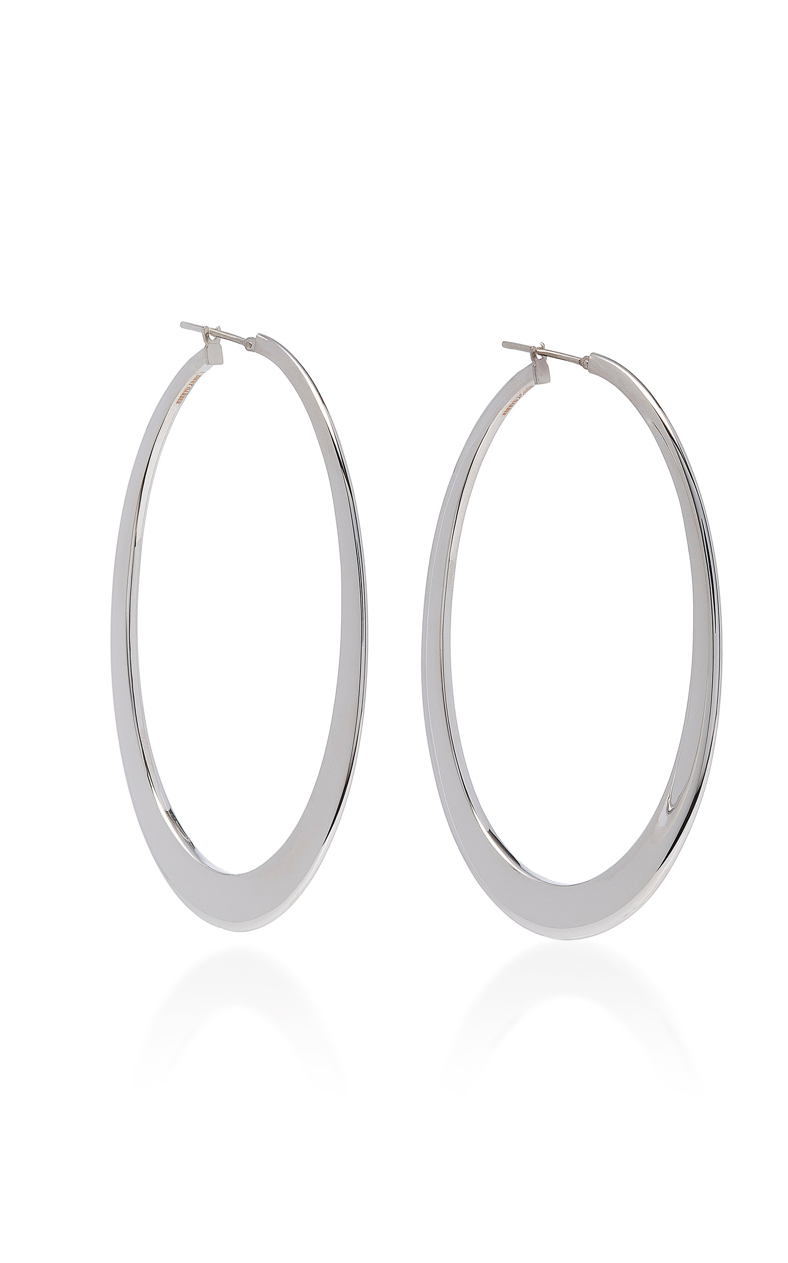glistening silver earrings handpicked oval