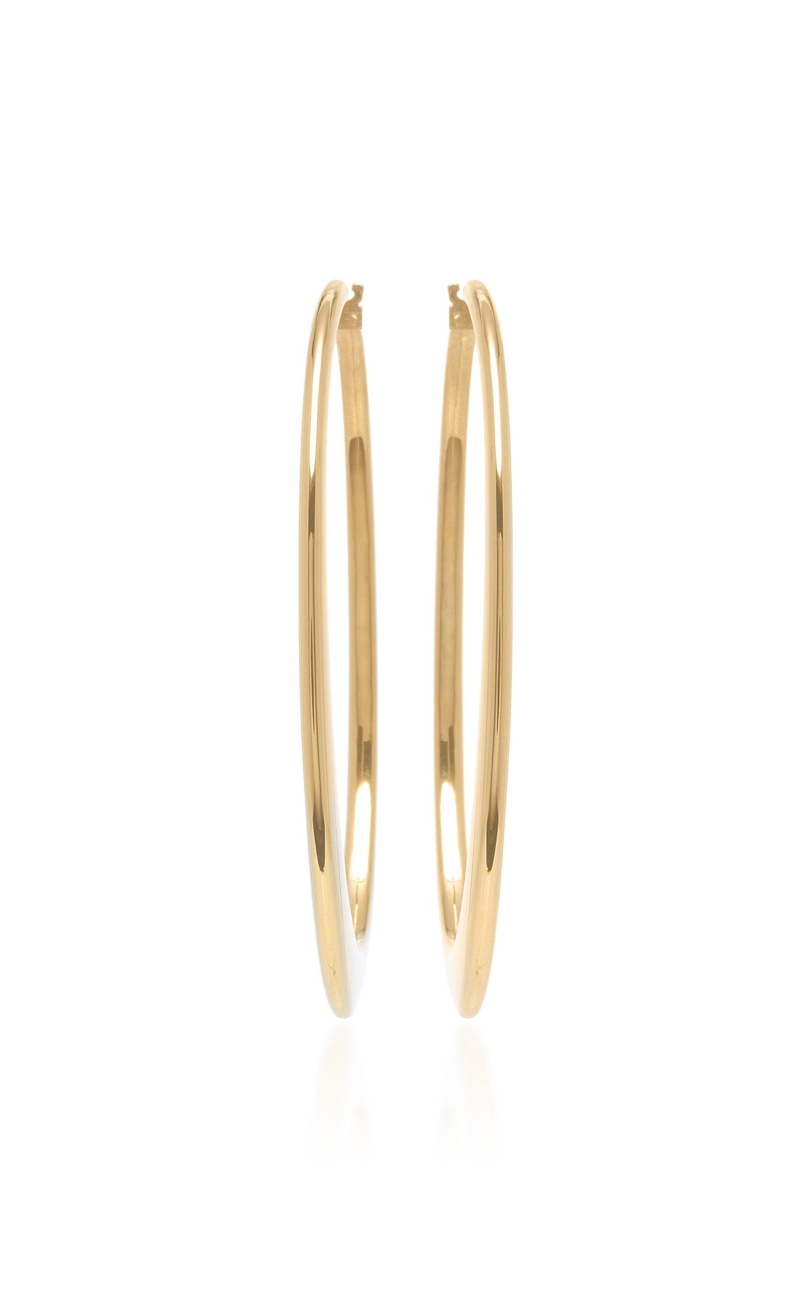 18K White Gold Crescent Oval Hoop Earrings Sidney Garber vemFj8Hg