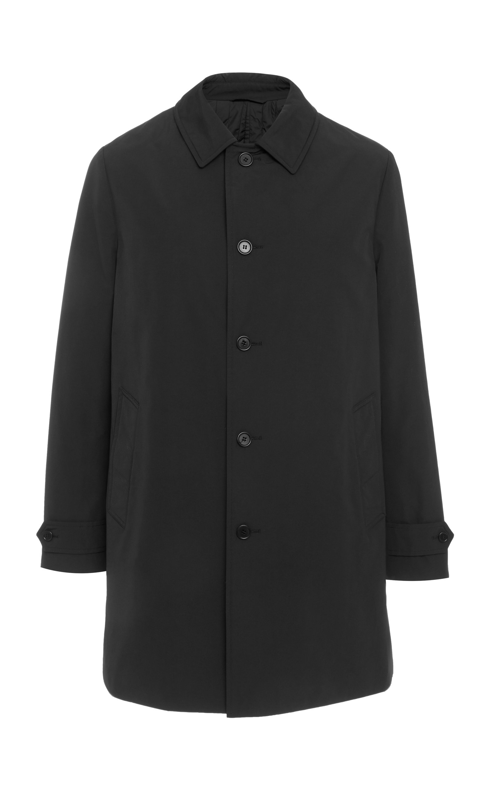 ASPESI Technical Shirt Collar Raincoat in Black