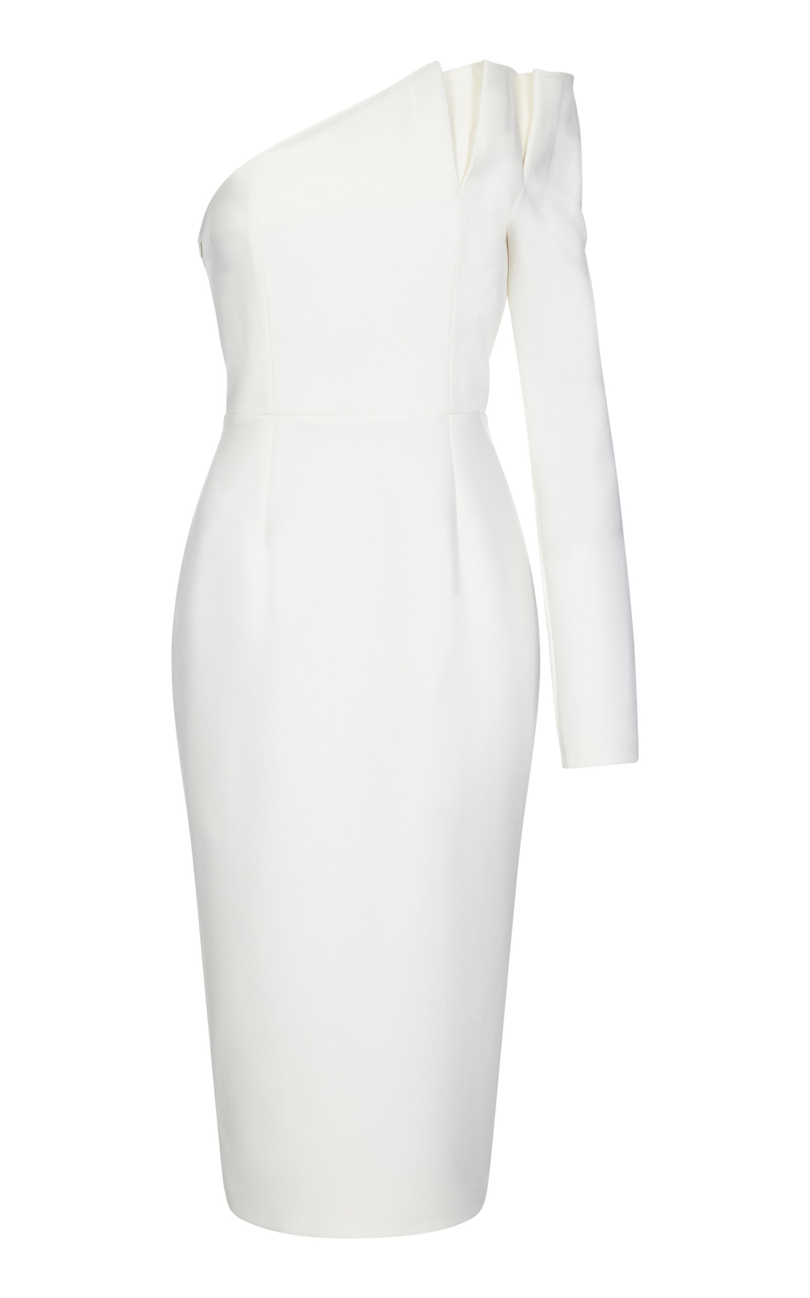 SAFIYAA Arden One-Shoulder Stretch-Crepe Midi Dress in Ivory