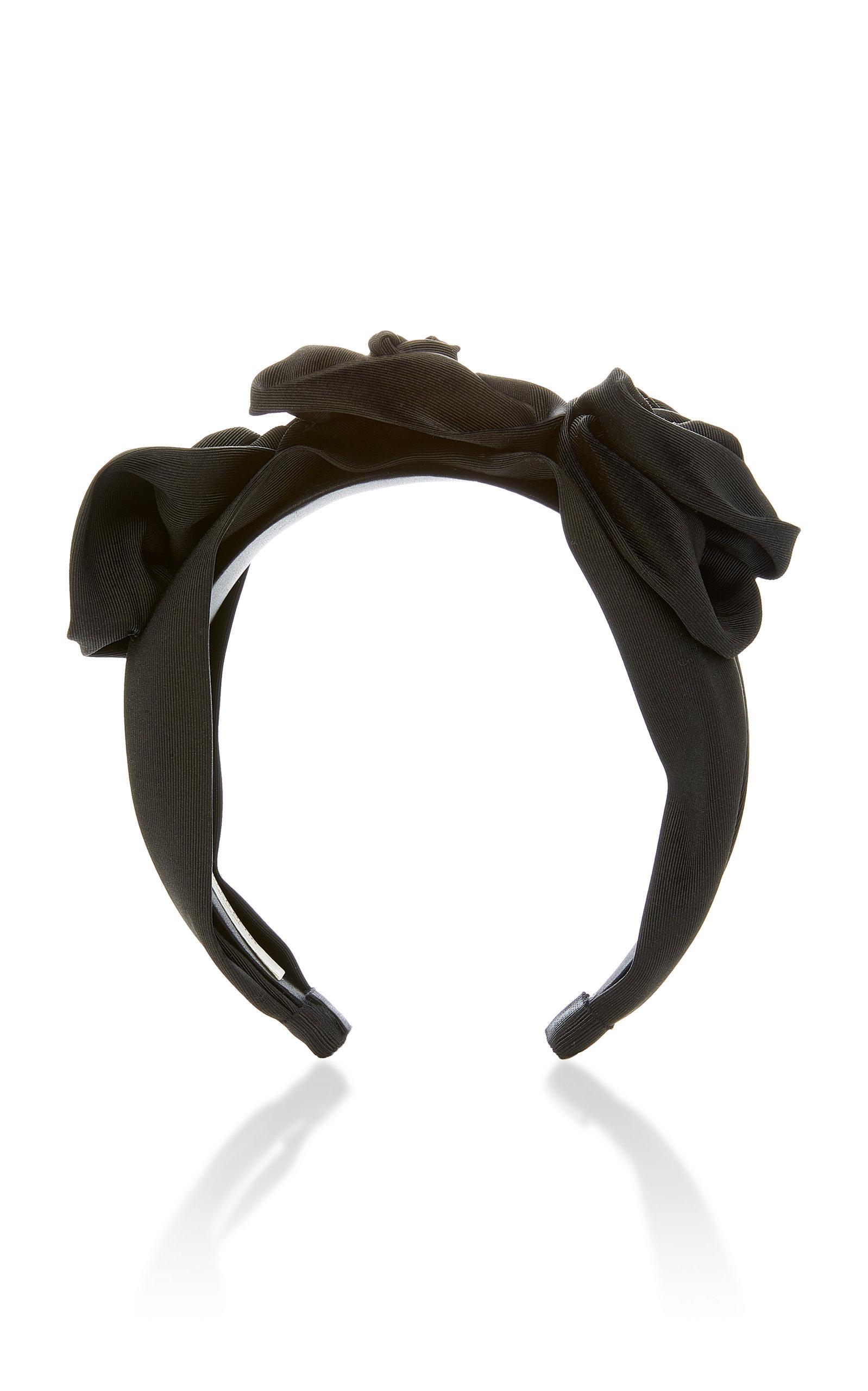 JENNIFER BEHR Silk Faille Triple Rosette Headband in Black