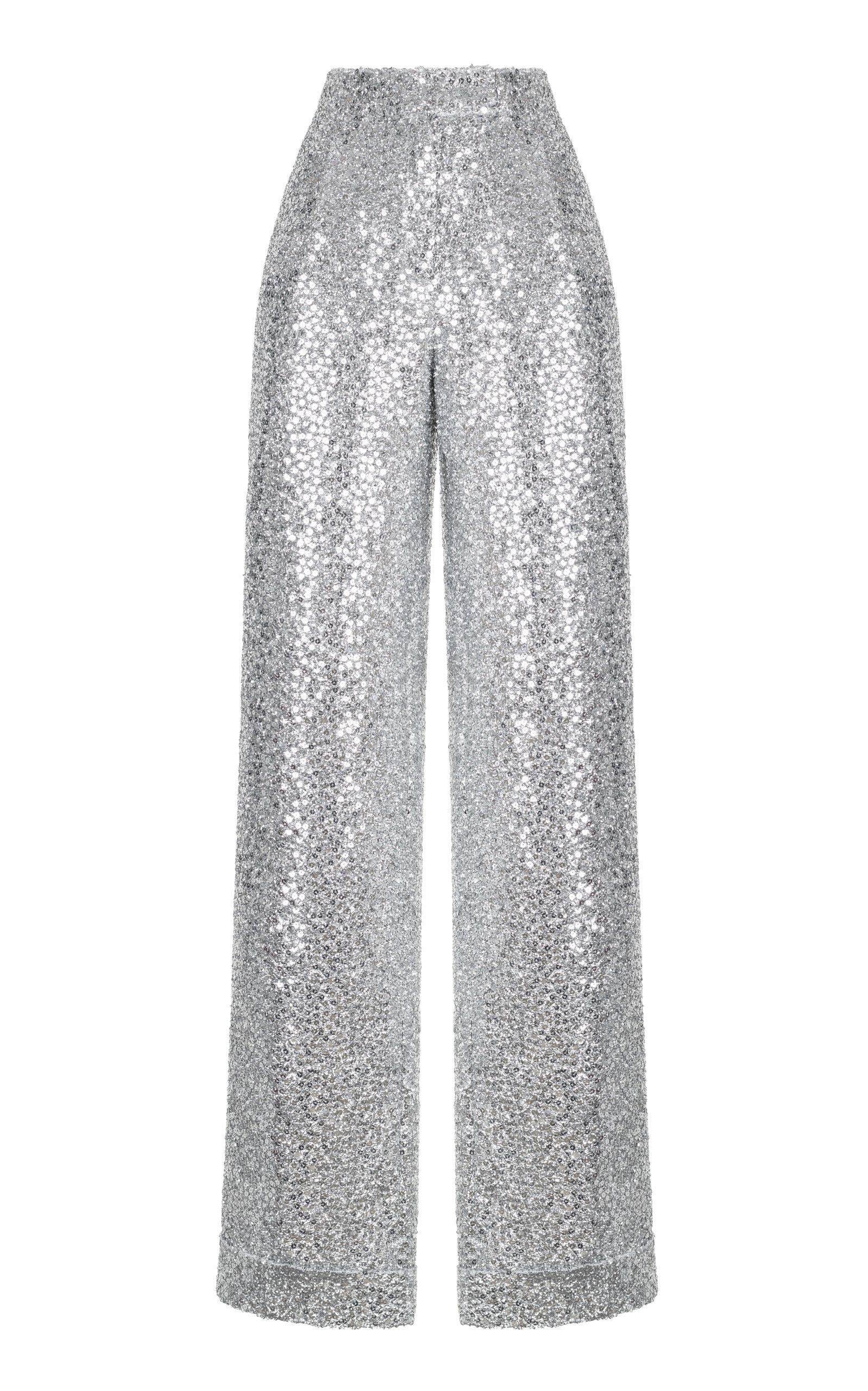 RASARIO Silver Sequin Pants