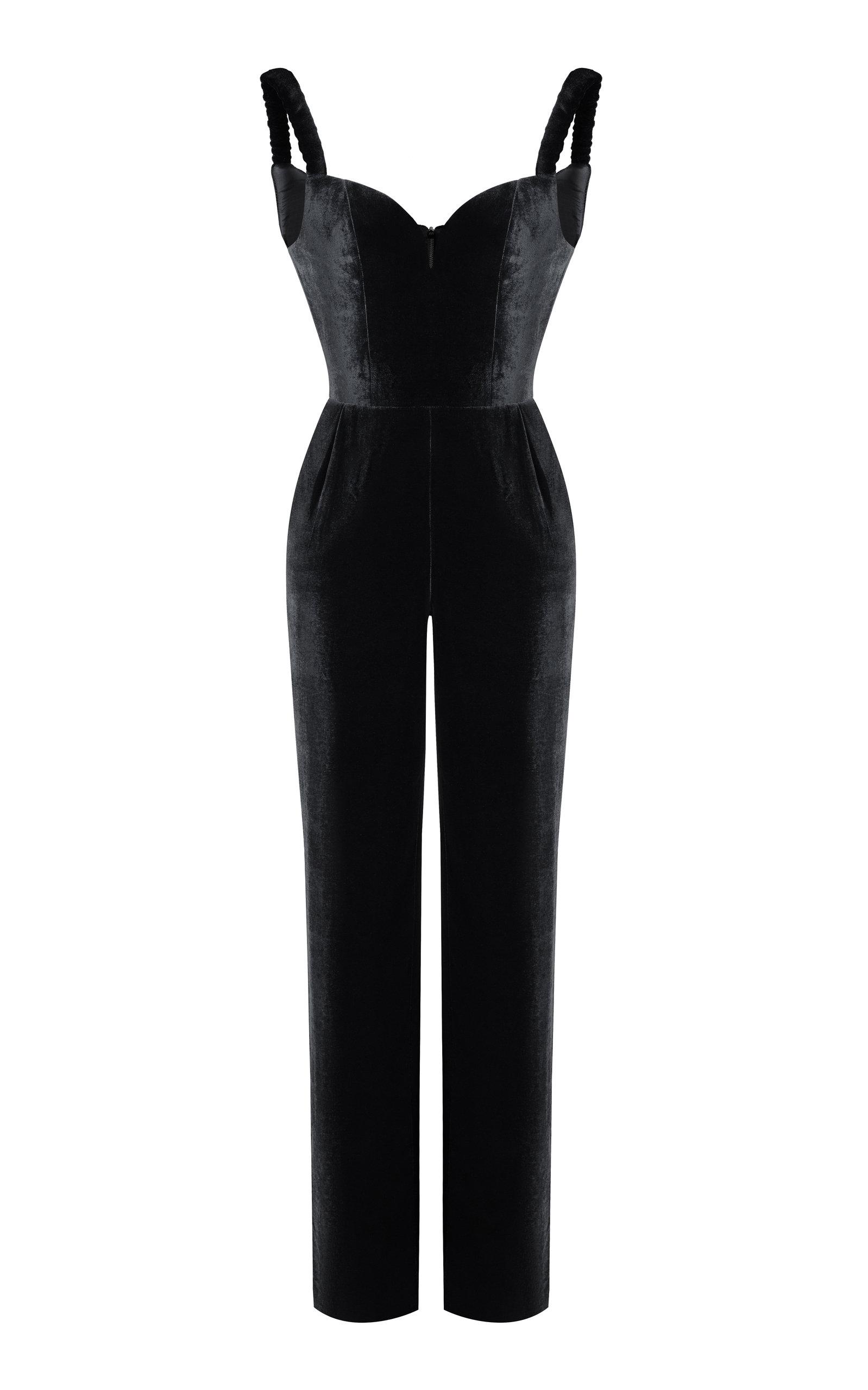 RASARIO Black Ruched Strap Jumpsuit