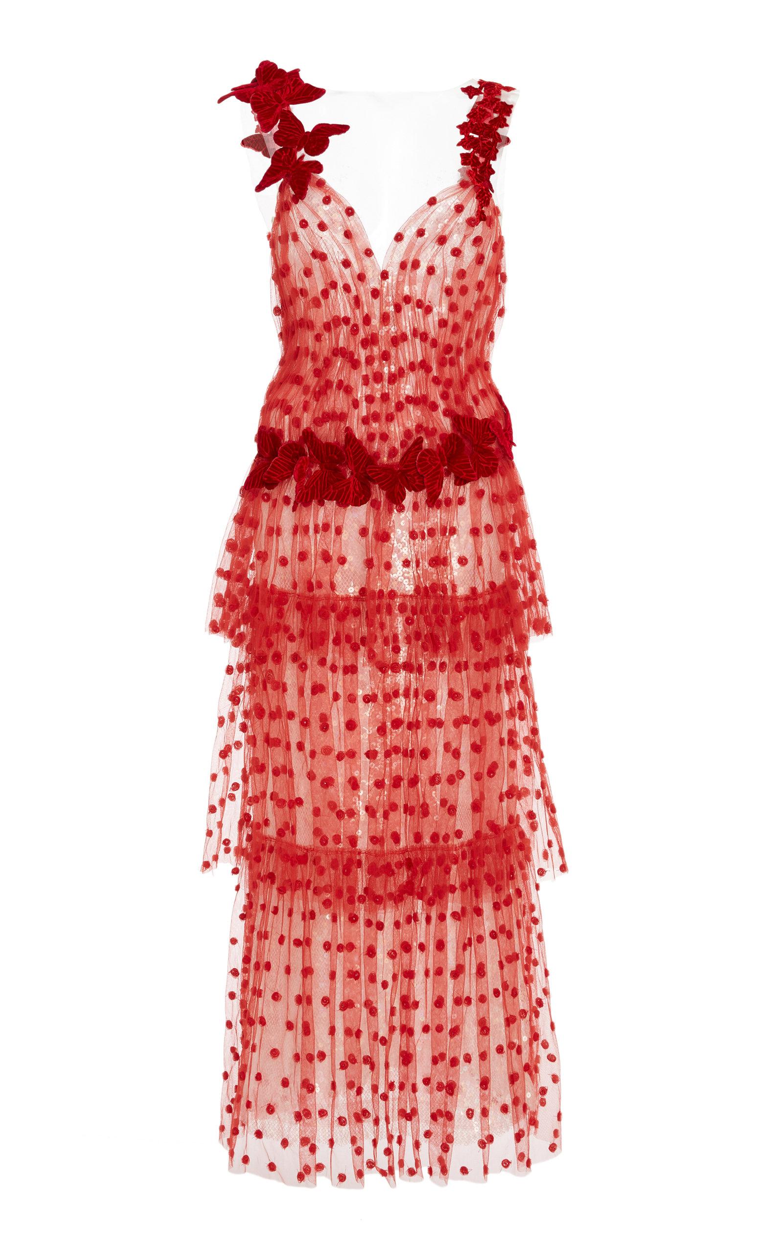 Butterfly Tiered Tulle Maxi Dress by Rodarte