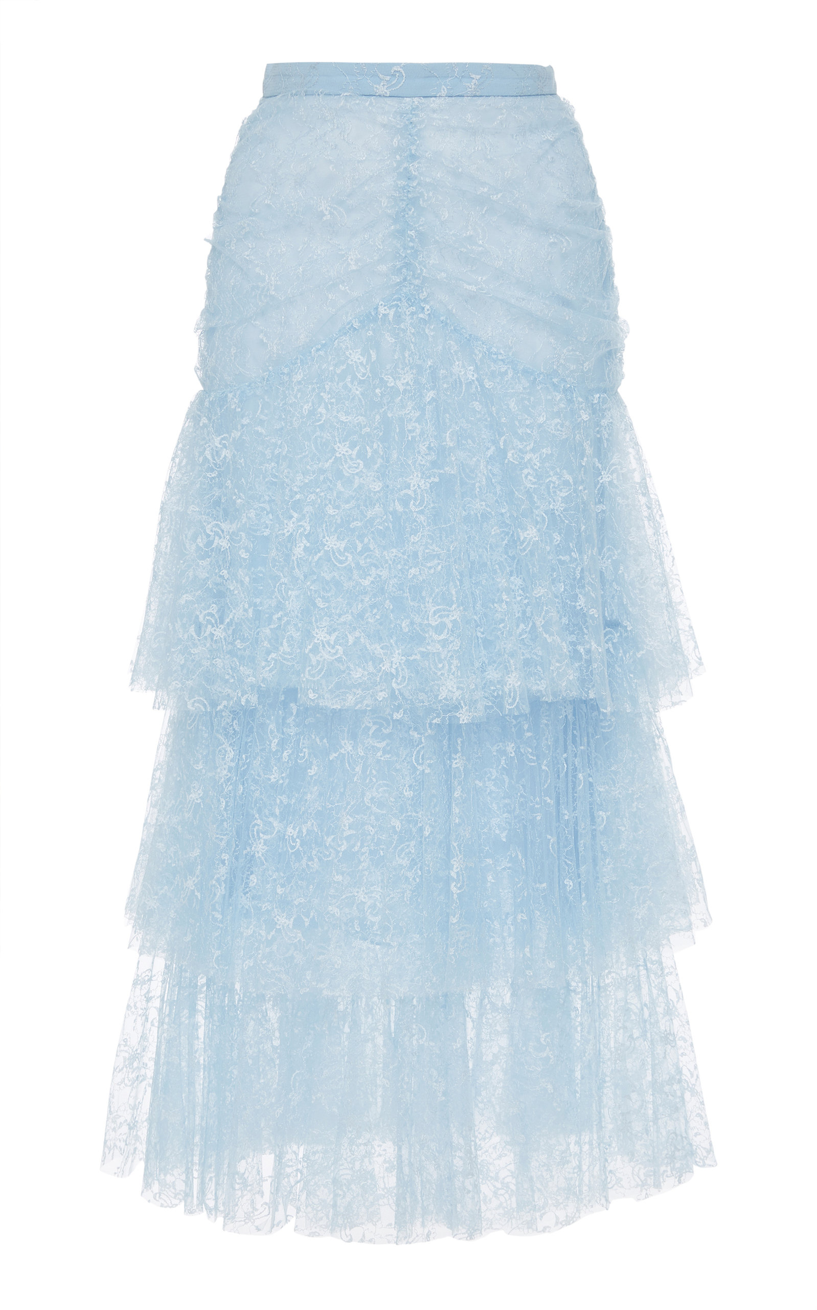RODARTE Tiered Tulle Maxi Skirt in Light Blue