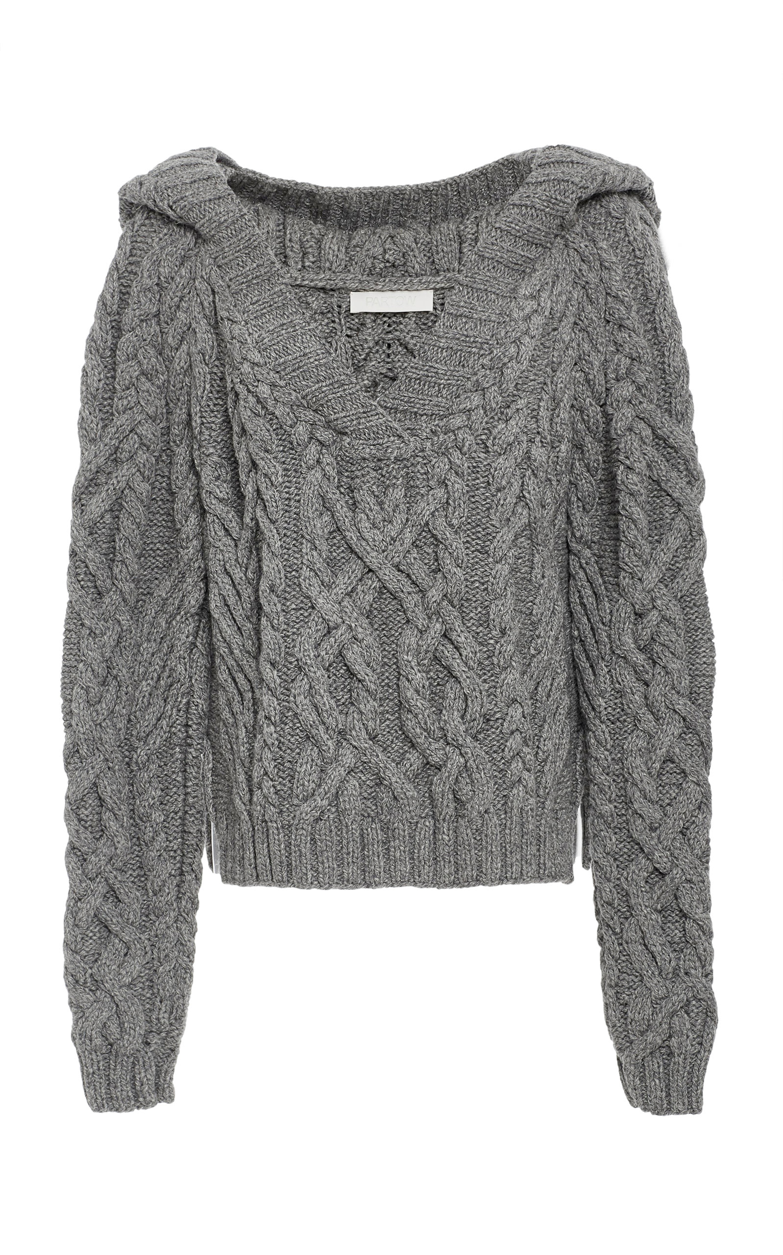 Partow Melange Cable Knit Hooded Sweater In Grey Modesens