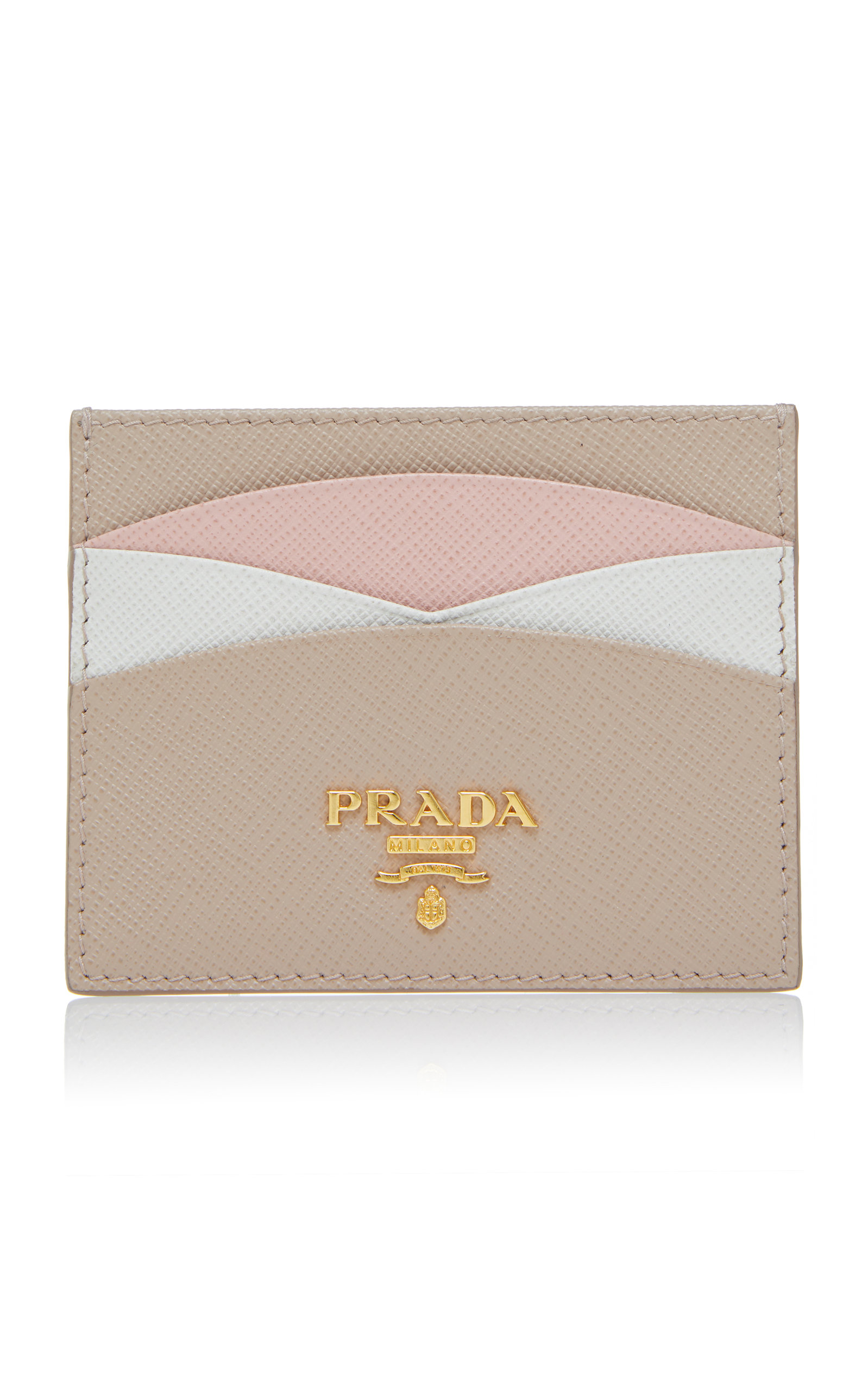 Color Blocked Textured Leather Cardholder by Prada