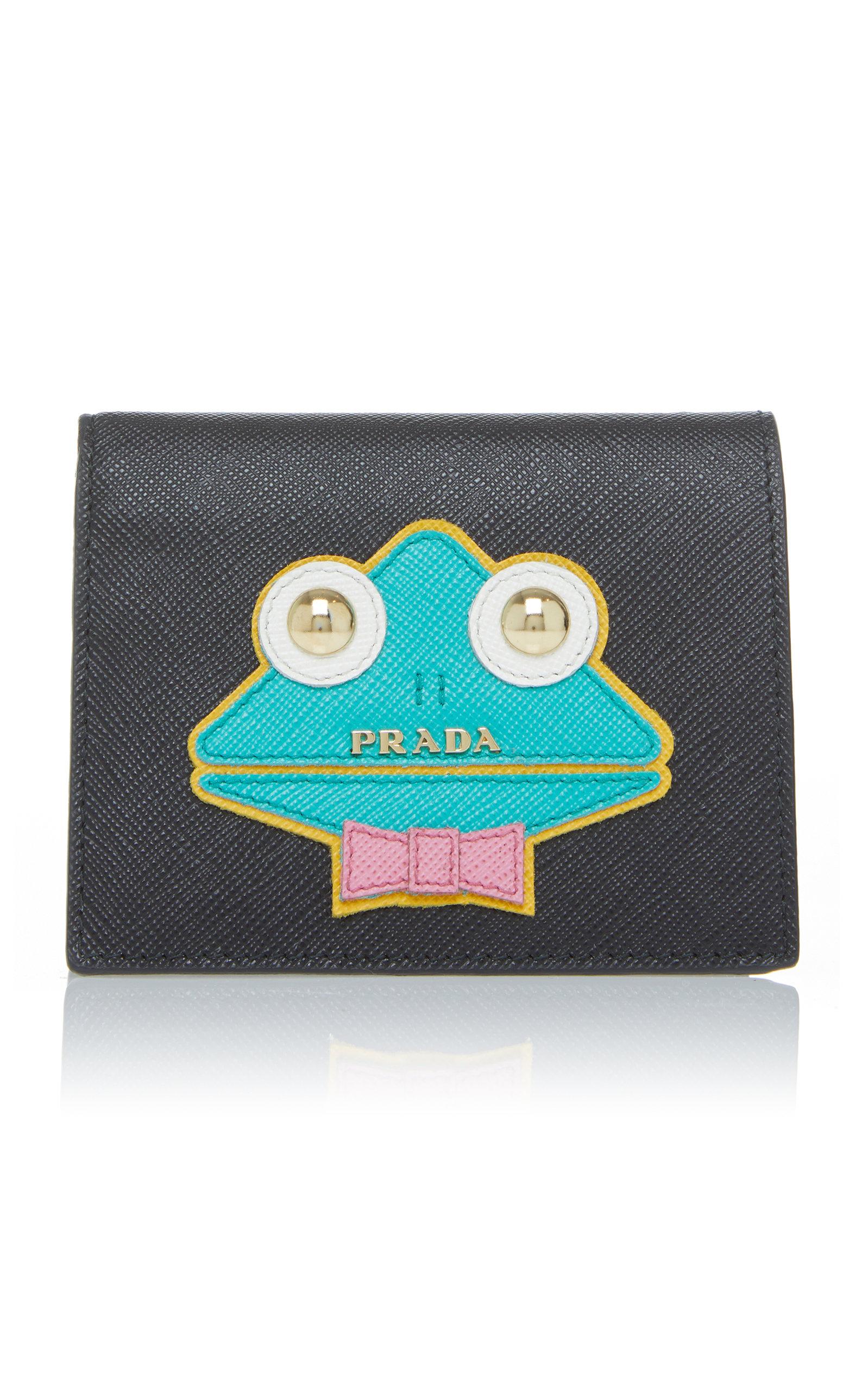 4b1c4d3fdc39 Appliquéd Textured-Leather Wallet by Prada | Moda Operandi