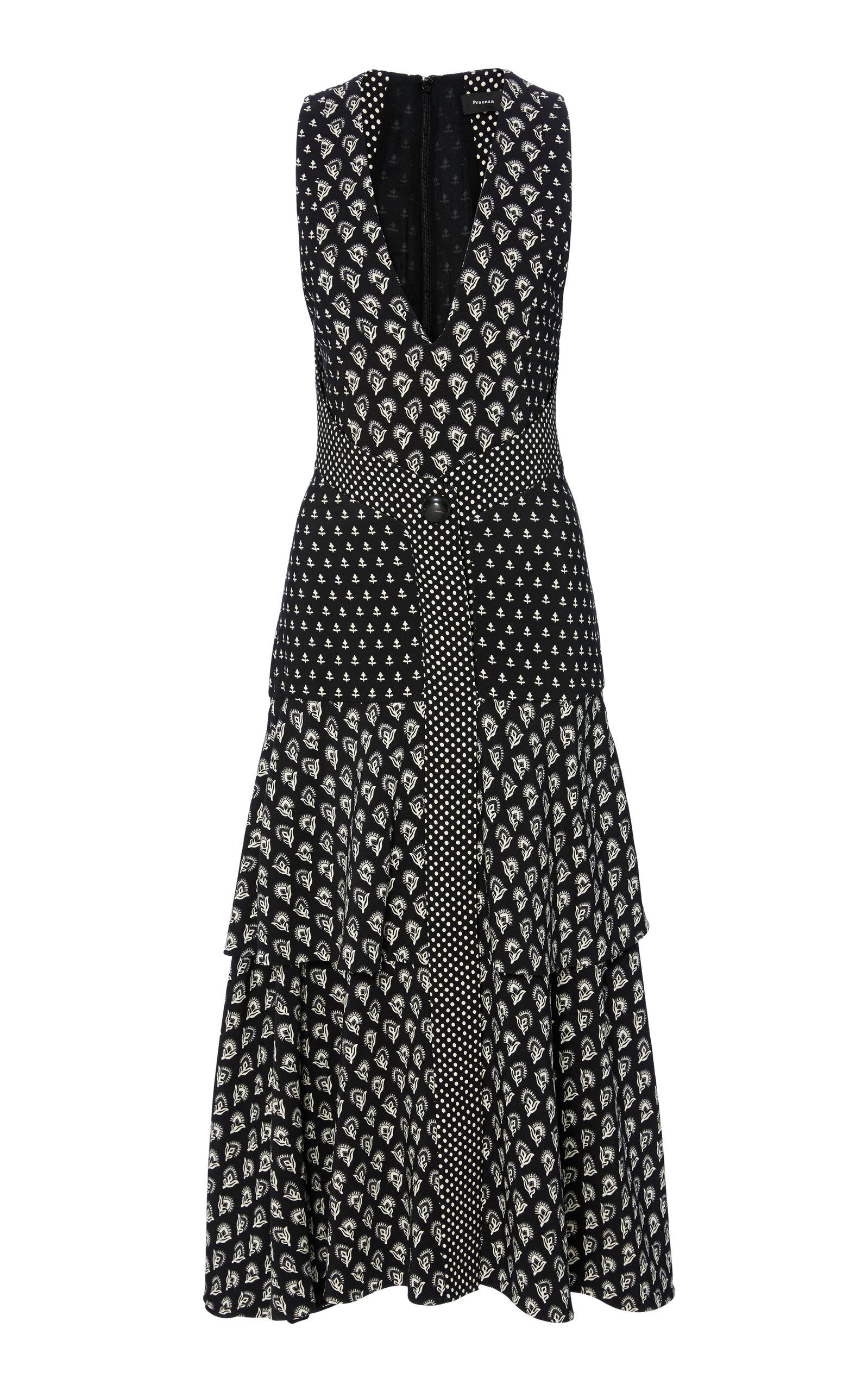 V-Neck Sleeveless Mixed-Print A-Line Midi Dress in Black