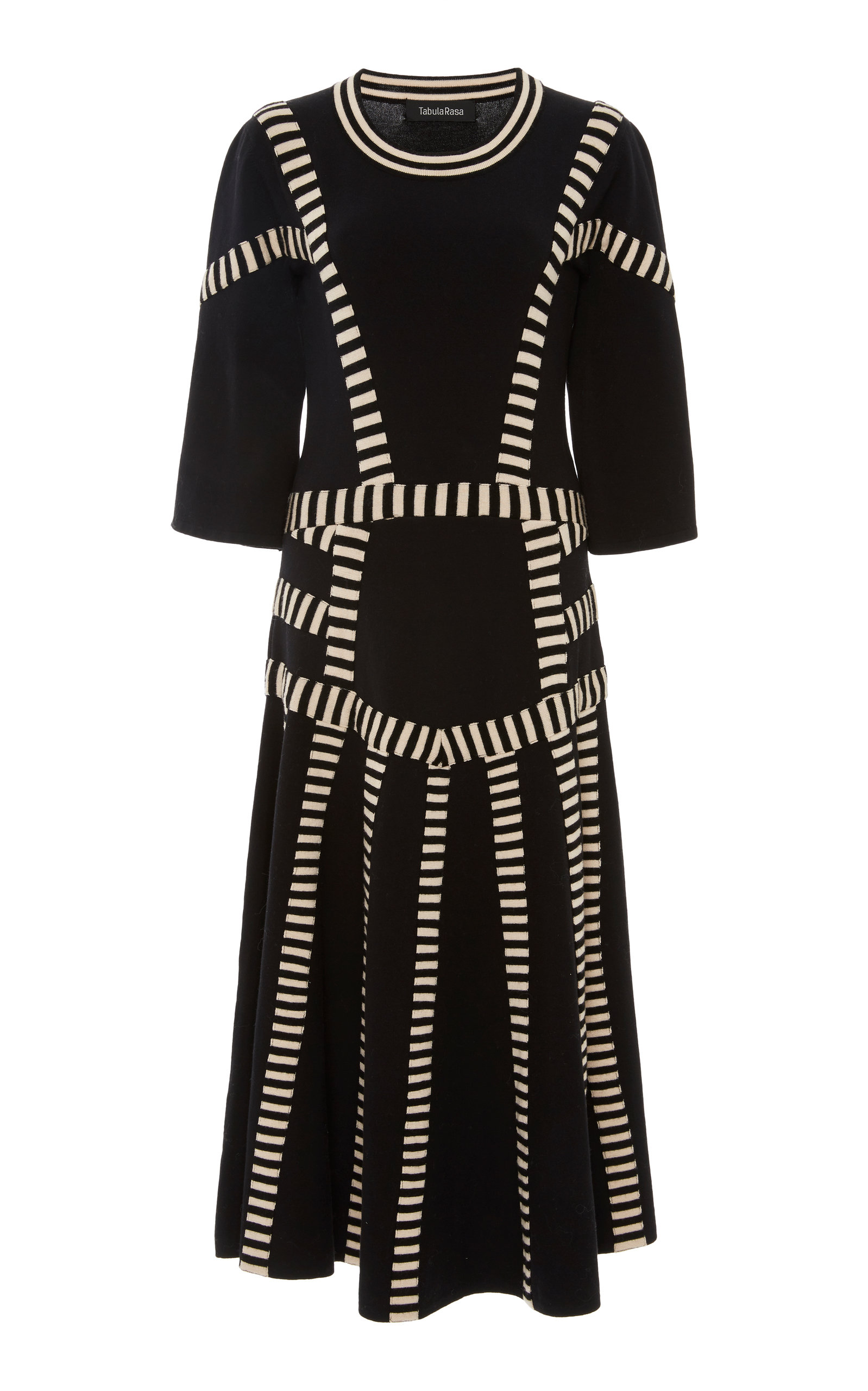 Modesens Tabula Stripe Litho Rasa Black Dress In gO1grY