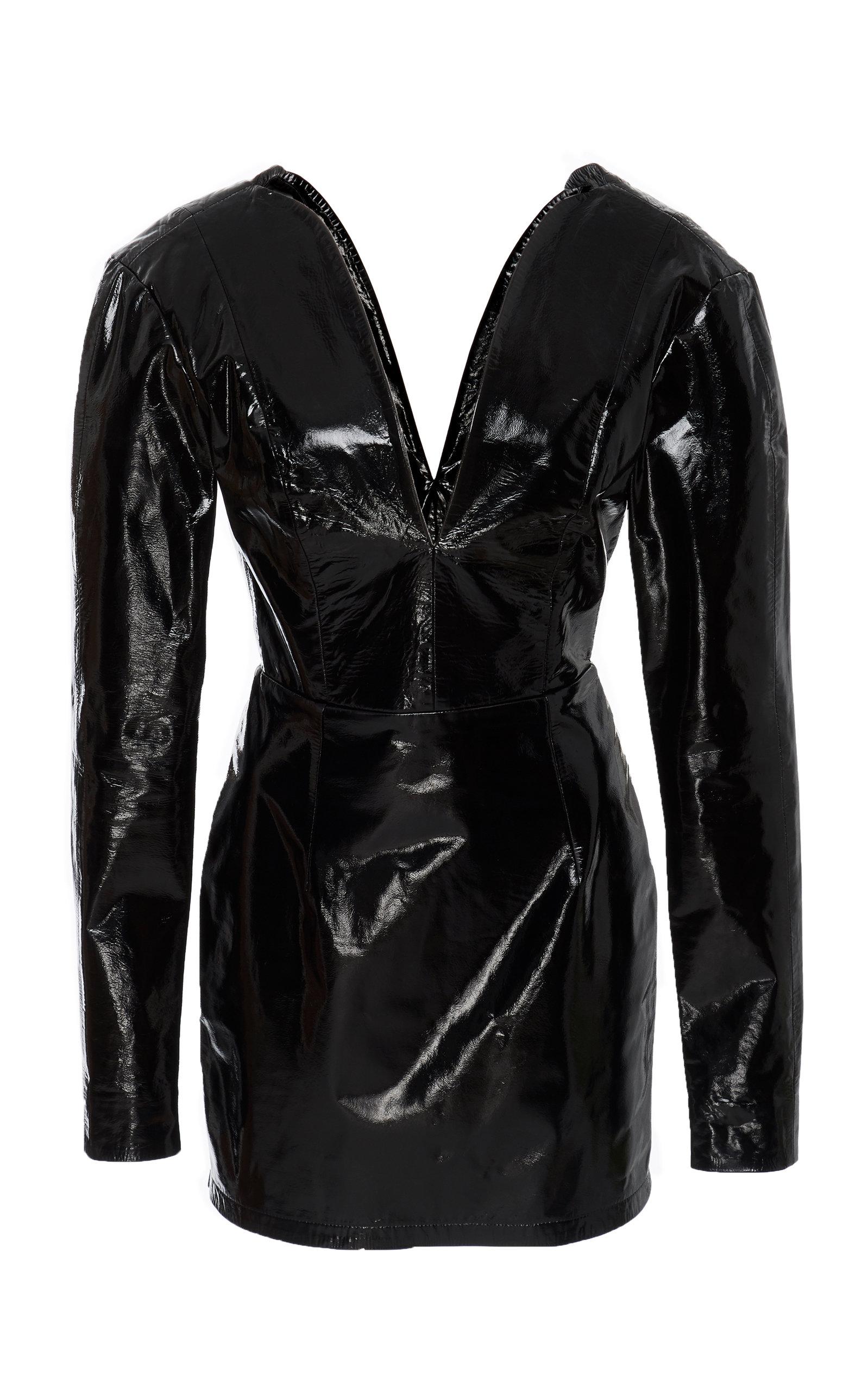 ZEYNEP ARCAY Mini Heart Leather Dress in Black
