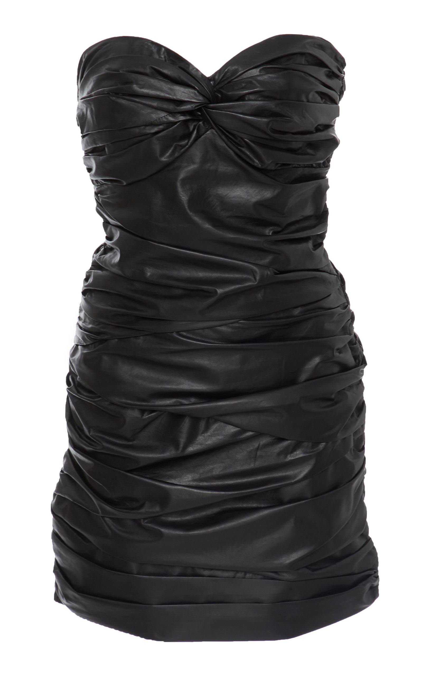 ZEYNEP ARCAY Strapless Leather Dress in Black