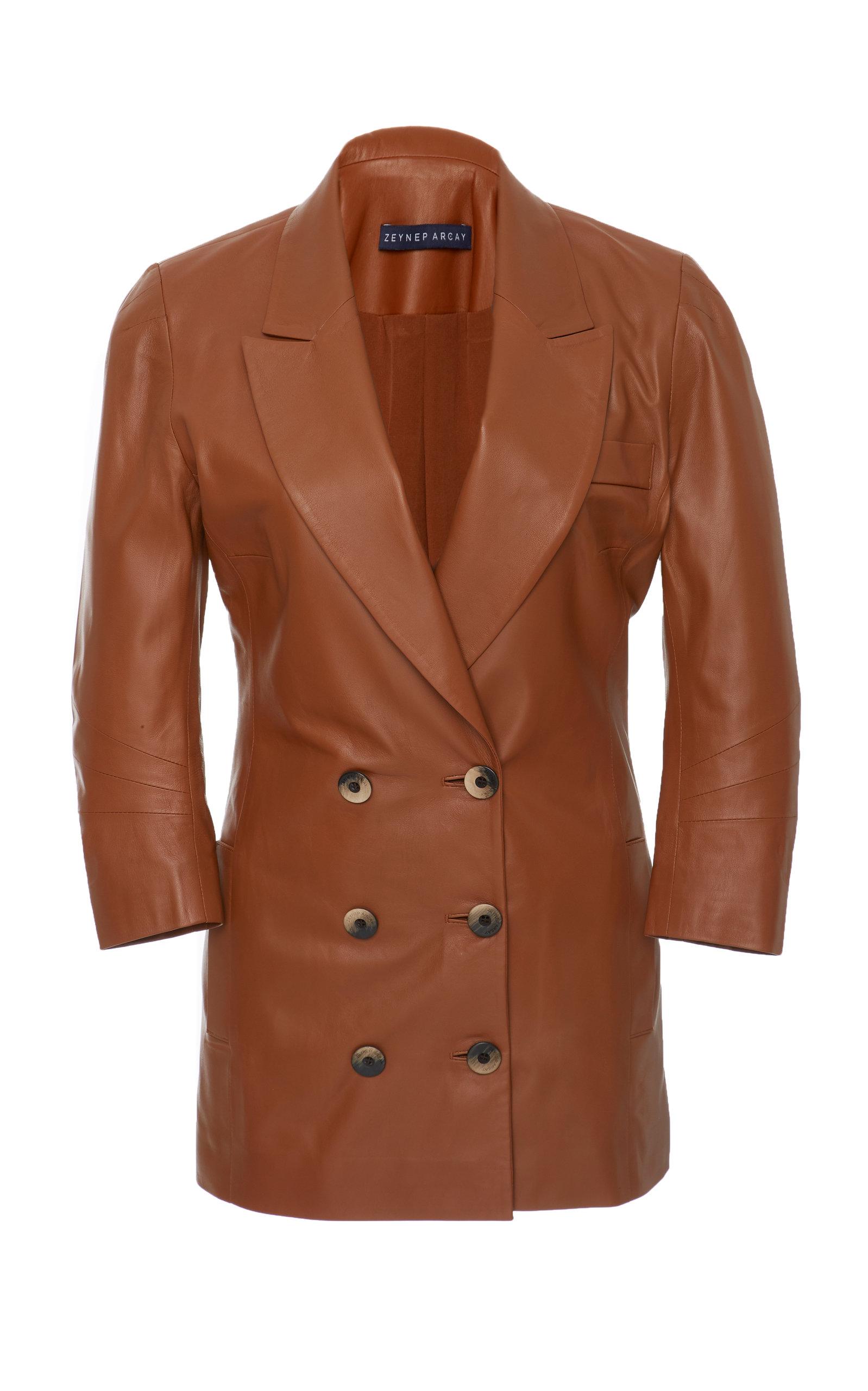 ZEYNEP ARCAY Leather Blazer in Brown