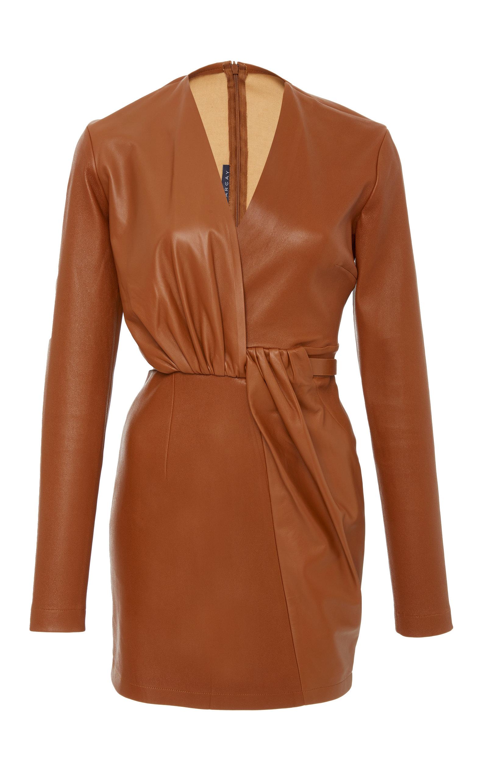 ZEYNEP ARCAY Leather Mini Dress in Brown