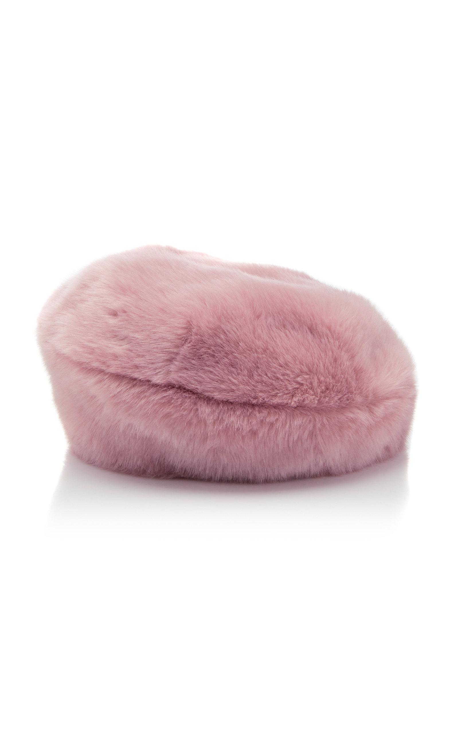 Mishka Faux Fur Beret, Pink
